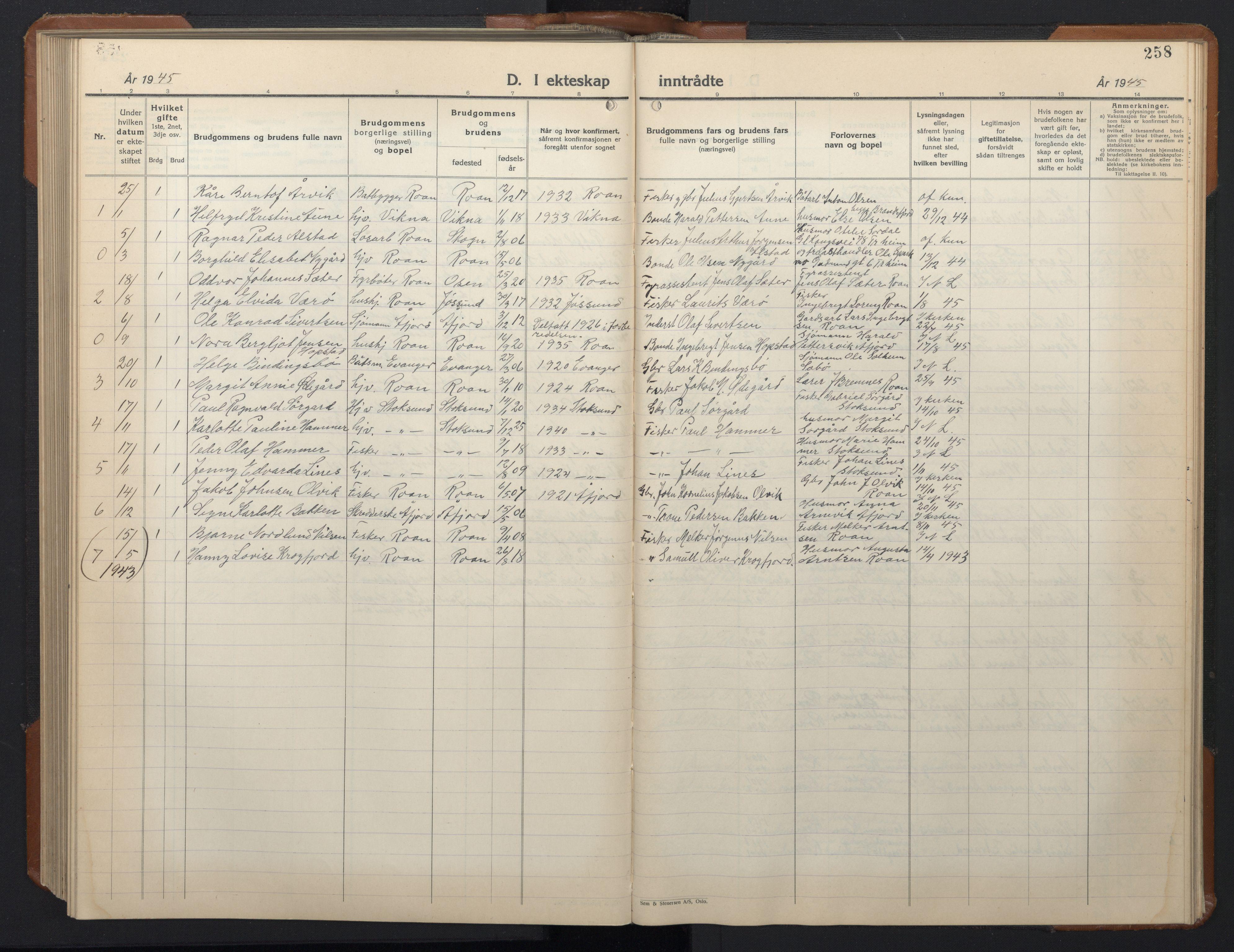 SAT, Ministerialprotokoller, klokkerbøker og fødselsregistre - Sør-Trøndelag, 657/L0718: Klokkerbok nr. 657C05, 1923-1948, s. 258