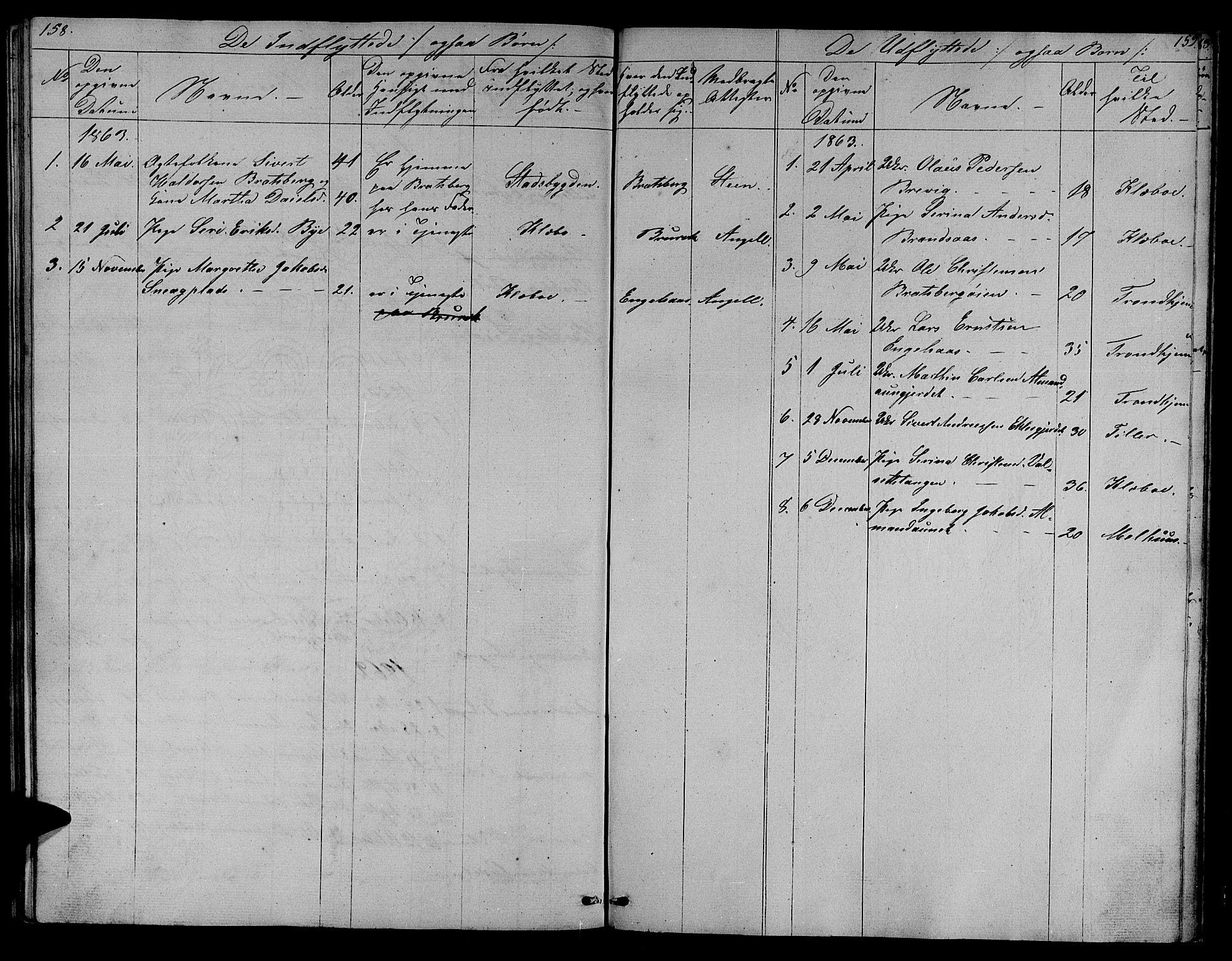 SAT, Ministerialprotokoller, klokkerbøker og fødselsregistre - Sør-Trøndelag, 608/L0339: Klokkerbok nr. 608C05, 1844-1863, s. 158-159