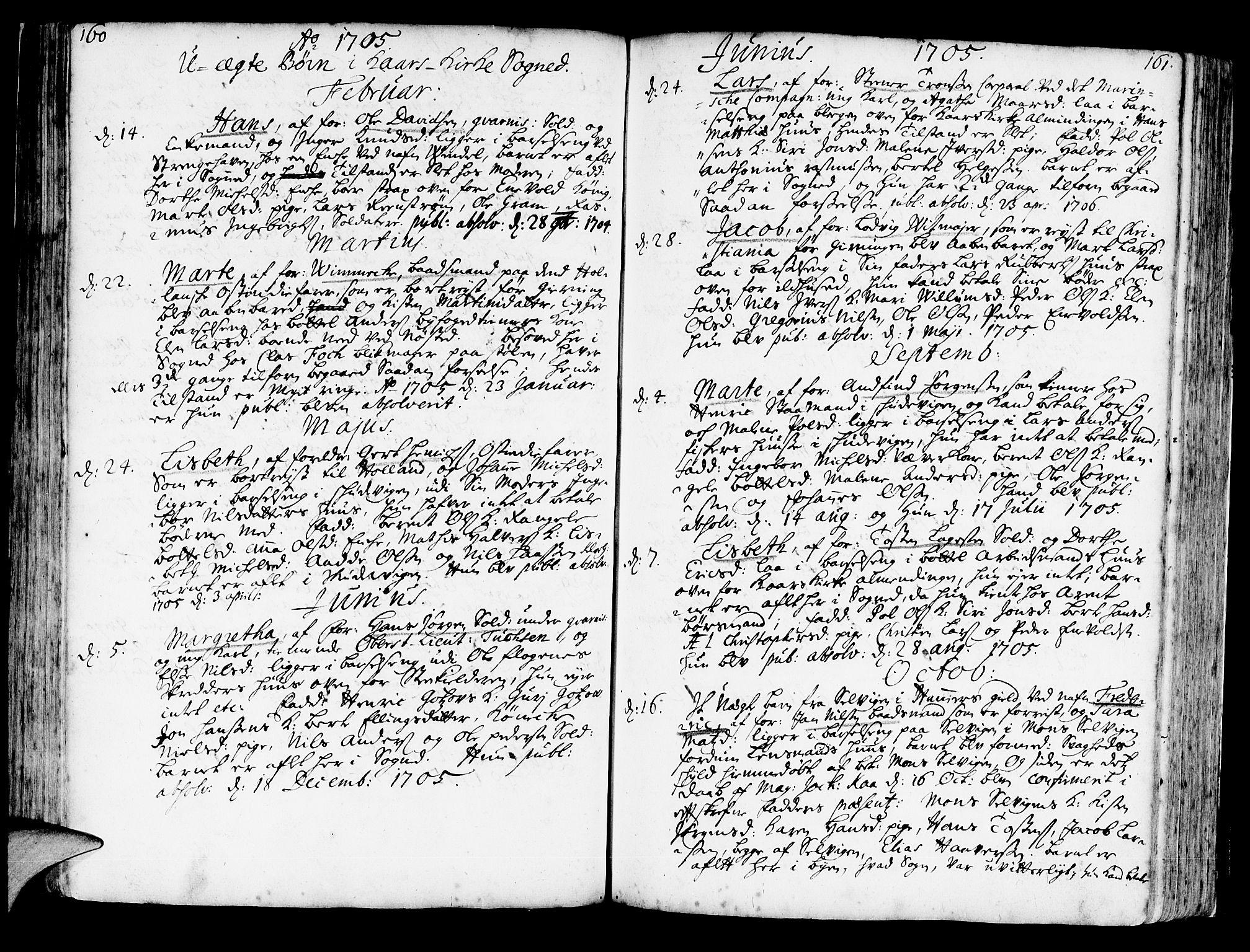 SAB, Korskirken Sokneprestembete, H/Haa/L0003: Ministerialbok nr. A 3, 1698-1719, s. 160-161