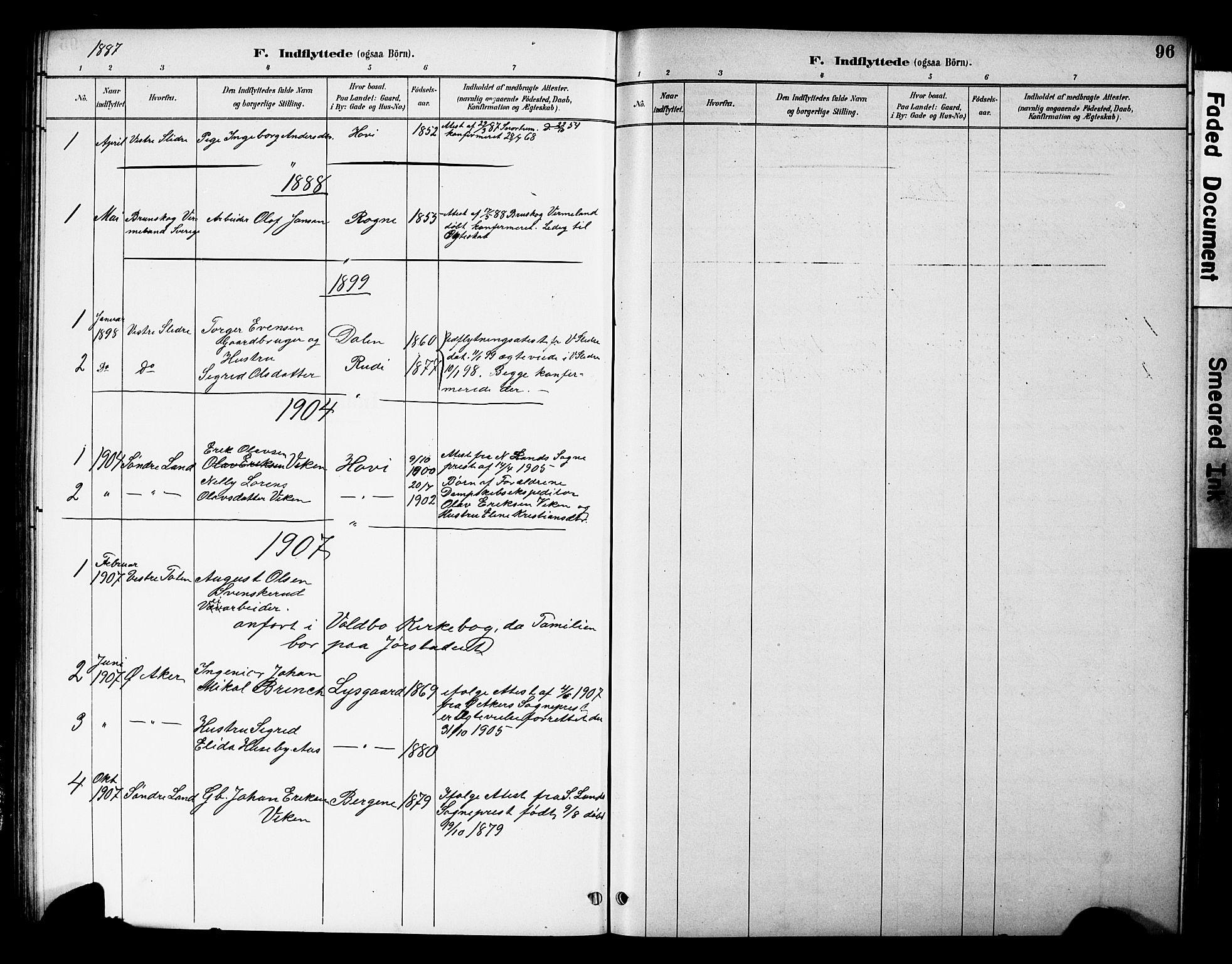 SAH, Øystre Slidre prestekontor, Klokkerbok nr. 5, 1887-1910, s. 96
