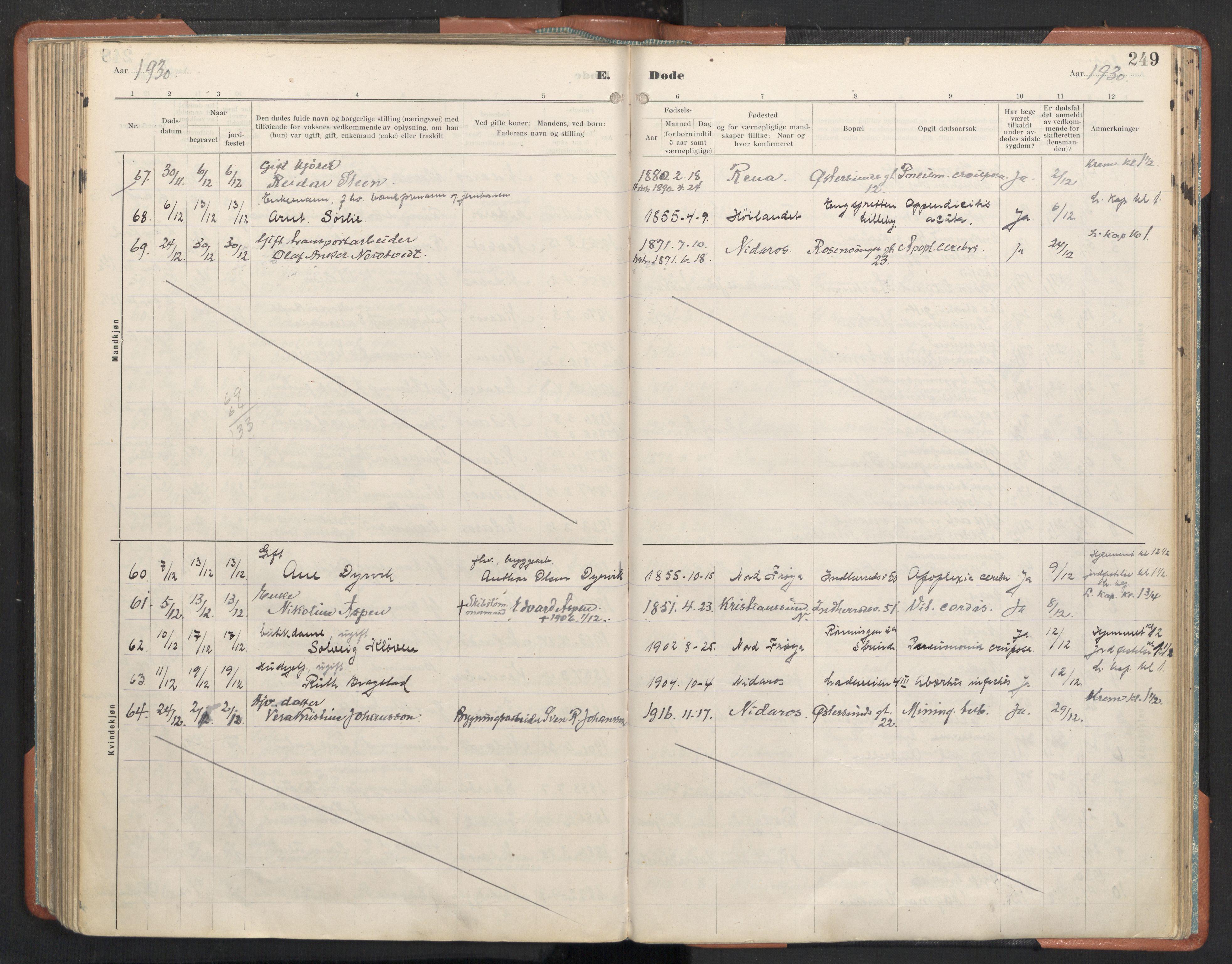 SAT, Ministerialprotokoller, klokkerbøker og fødselsregistre - Sør-Trøndelag, 605/L0245: Ministerialbok nr. 605A07, 1916-1938, s. 249