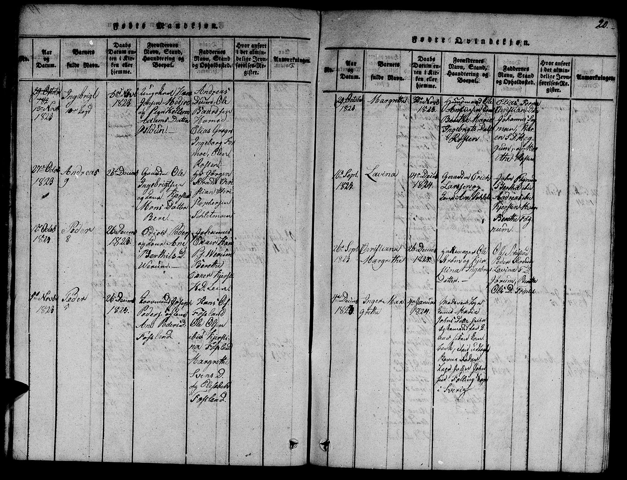 SAT, Ministerialprotokoller, klokkerbøker og fødselsregistre - Nord-Trøndelag, 758/L0521: Klokkerbok nr. 758C01, 1816-1825, s. 20