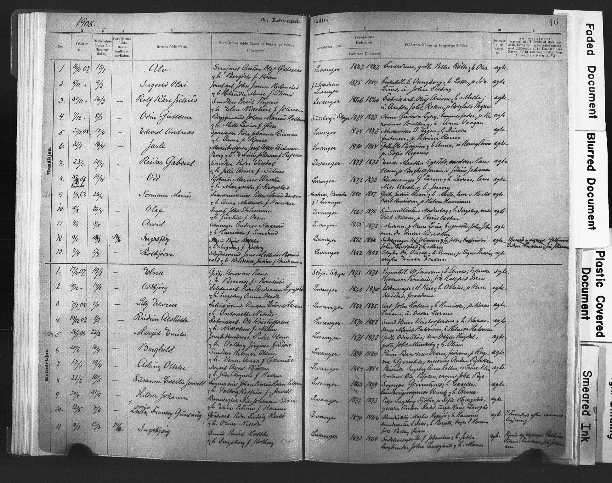 SAT, Ministerialprotokoller, klokkerbøker og fødselsregistre - Nord-Trøndelag, 720/L0189: Ministerialbok nr. 720A05, 1880-1911, s. 46