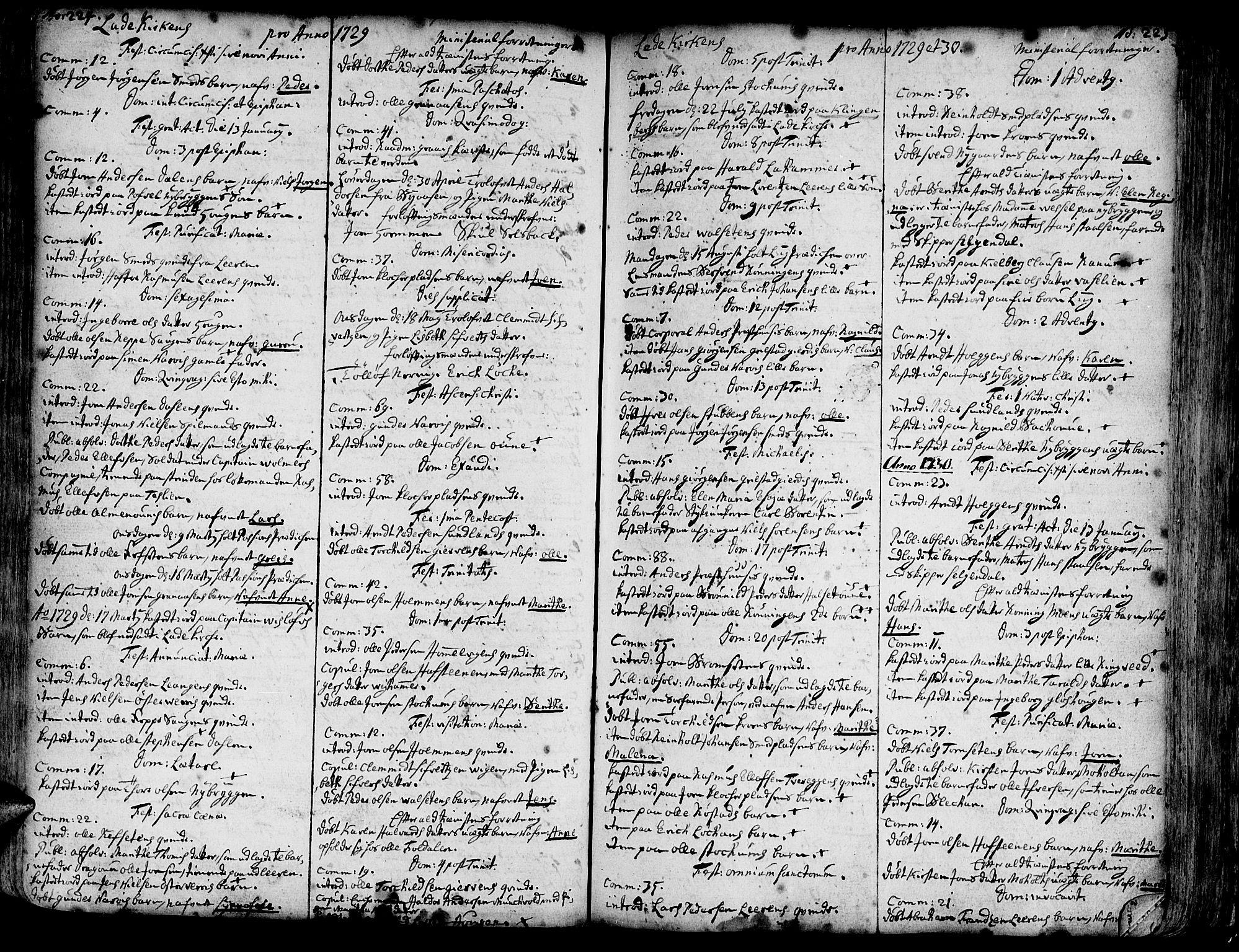 SAT, Ministerialprotokoller, klokkerbøker og fødselsregistre - Sør-Trøndelag, 606/L0275: Ministerialbok nr. 606A01 /1, 1727-1780, s. 224-225