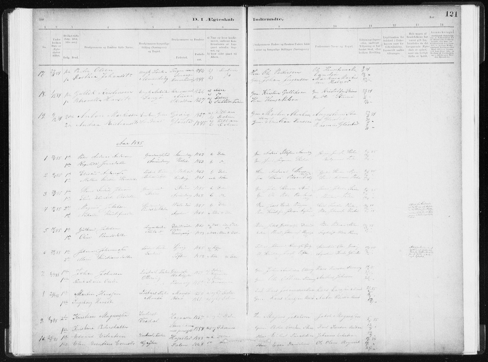 SAT, Ministerialprotokoller, klokkerbøker og fødselsregistre - Sør-Trøndelag, 634/L0533: Ministerialbok nr. 634A09, 1882-1901, s. 121