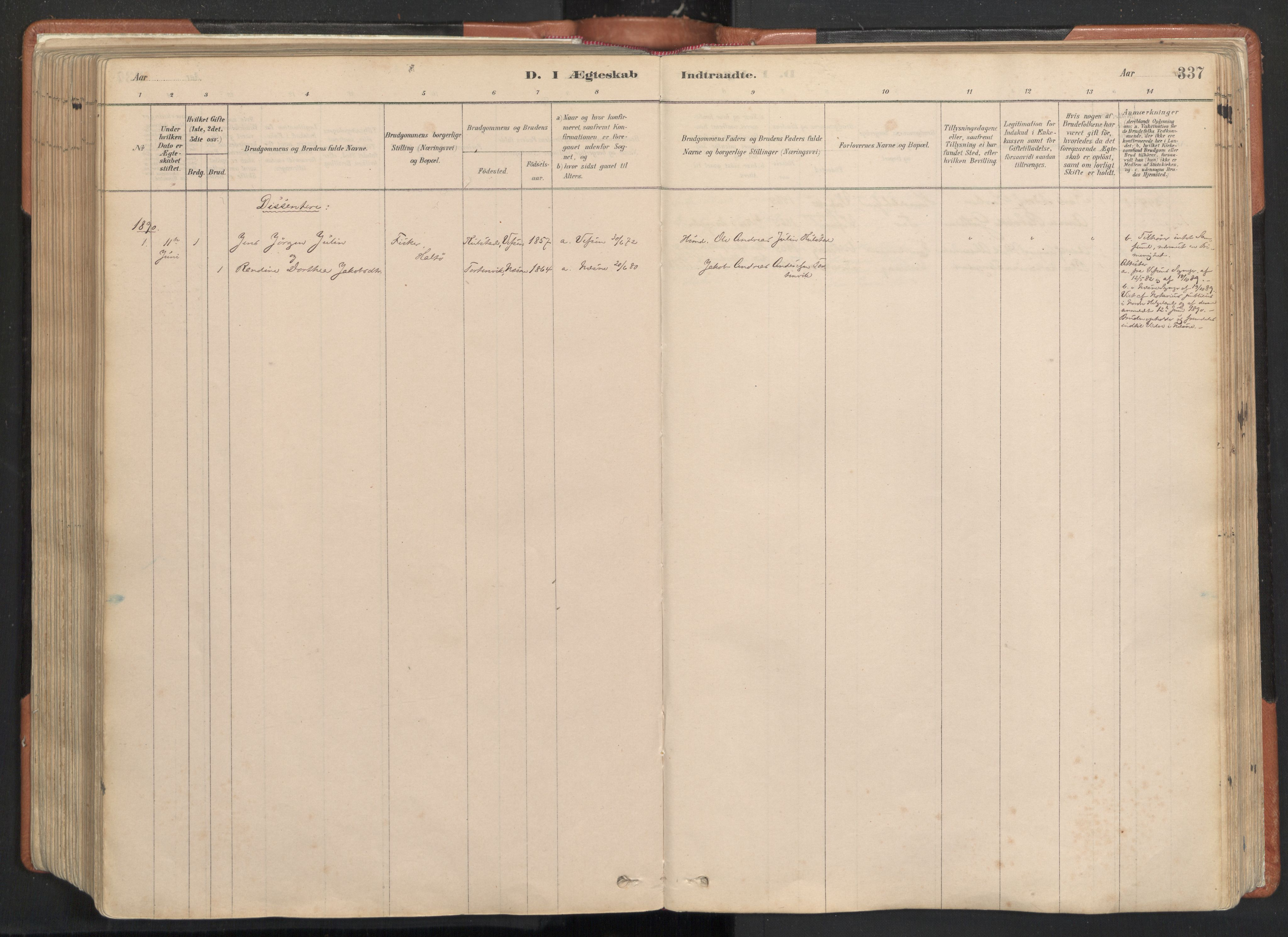 SAT, Ministerialprotokoller, klokkerbøker og fødselsregistre - Nordland, 817/L0264: Ministerialbok nr. 817A04, 1878-1907, s. 337