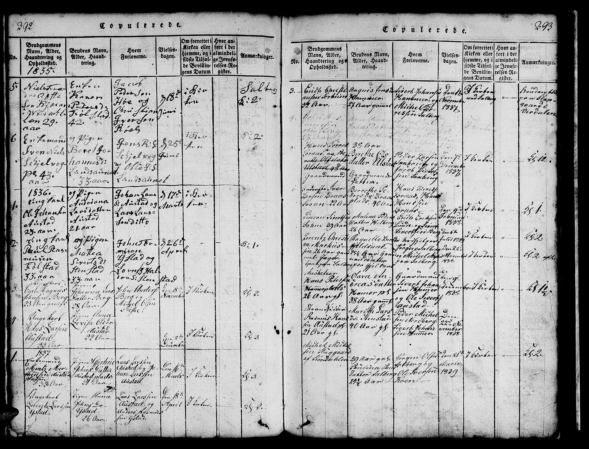 SAT, Ministerialprotokoller, klokkerbøker og fødselsregistre - Nord-Trøndelag, 731/L0310: Klokkerbok nr. 731C01, 1816-1874, s. 392-393