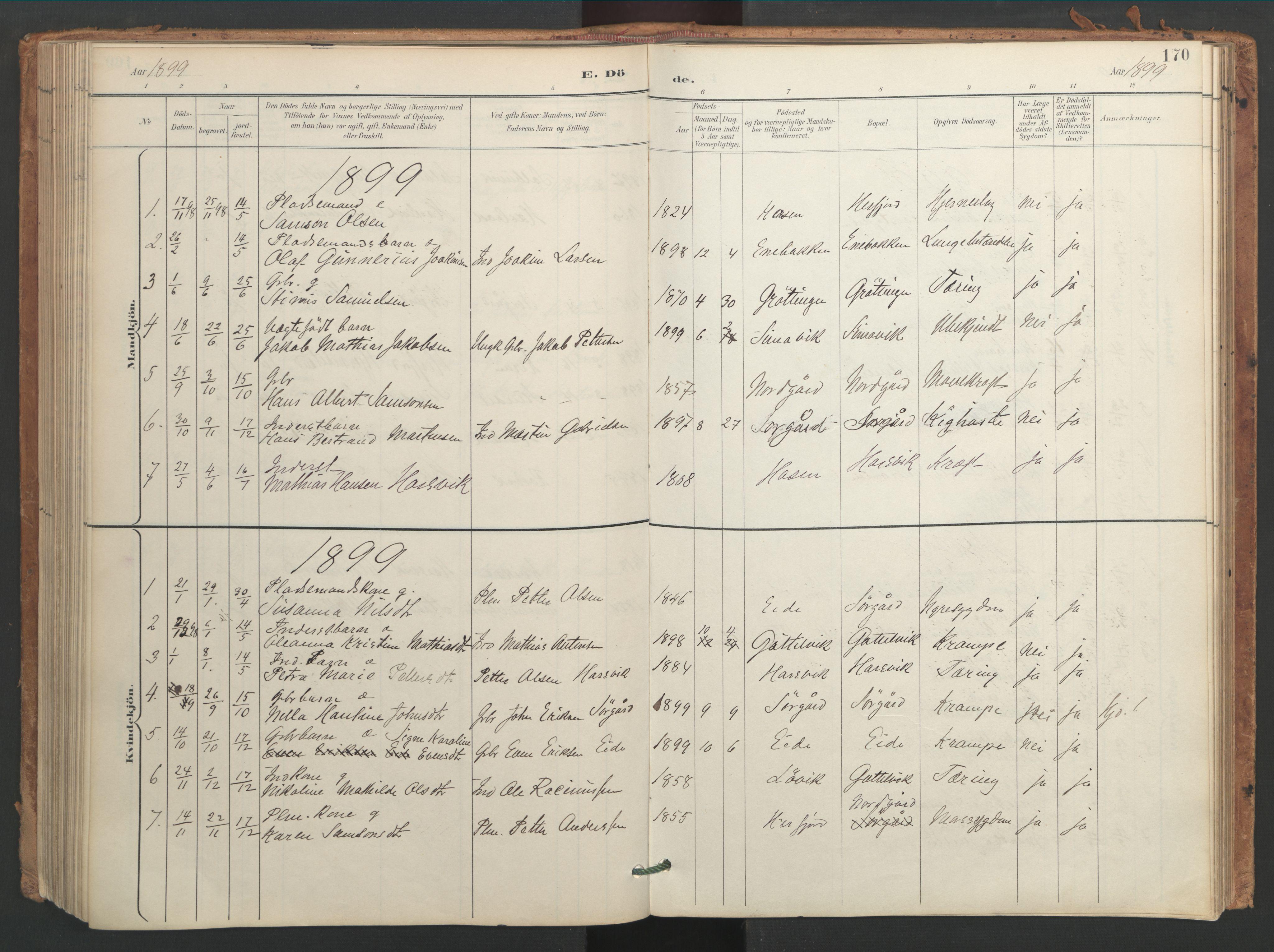 SAT, Ministerialprotokoller, klokkerbøker og fødselsregistre - Sør-Trøndelag, 656/L0693: Ministerialbok nr. 656A02, 1894-1913, s. 170