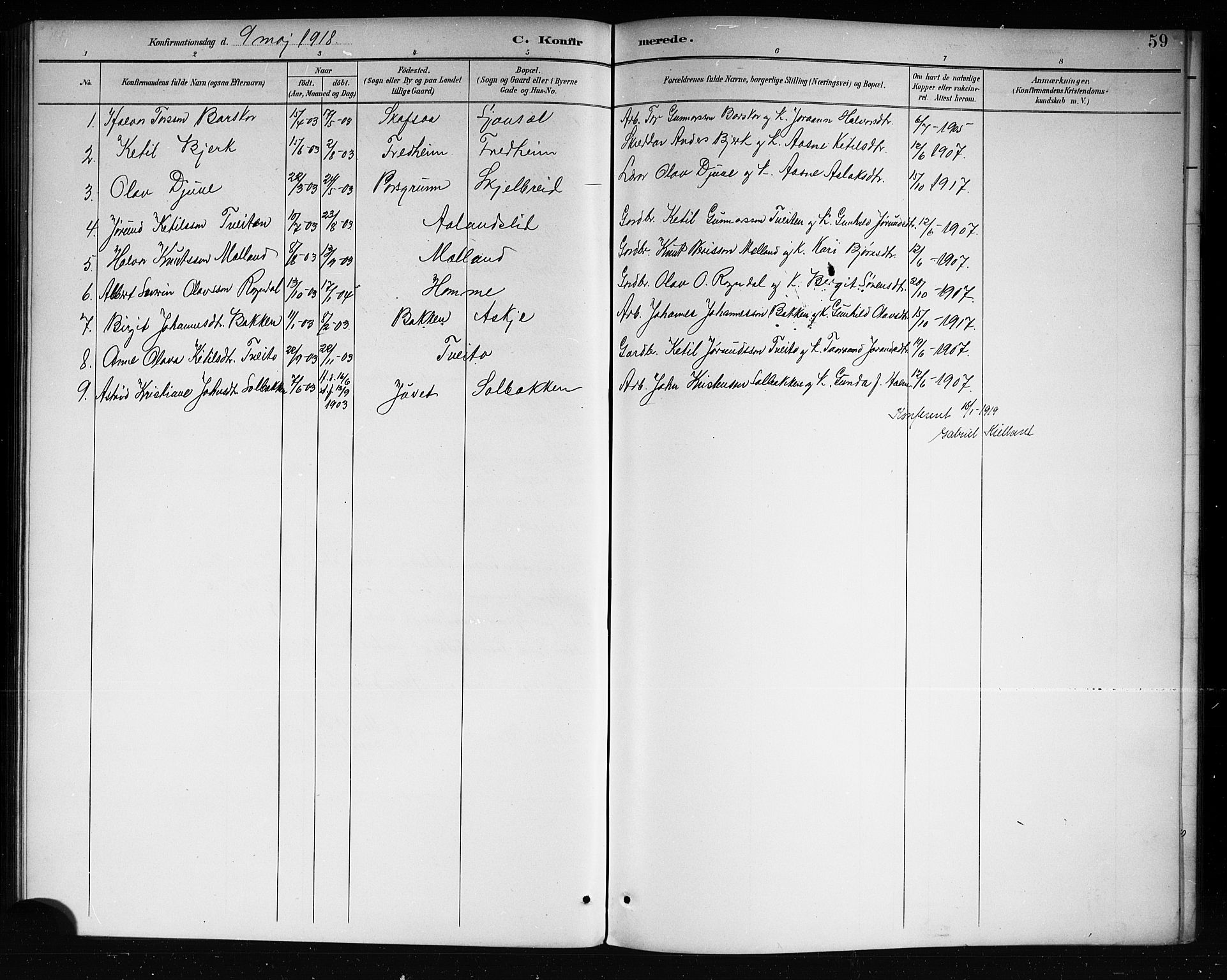 SAKO, Lårdal kirkebøker, G/Ga/L0003: Klokkerbok nr. I 3, 1891-1918, s. 59