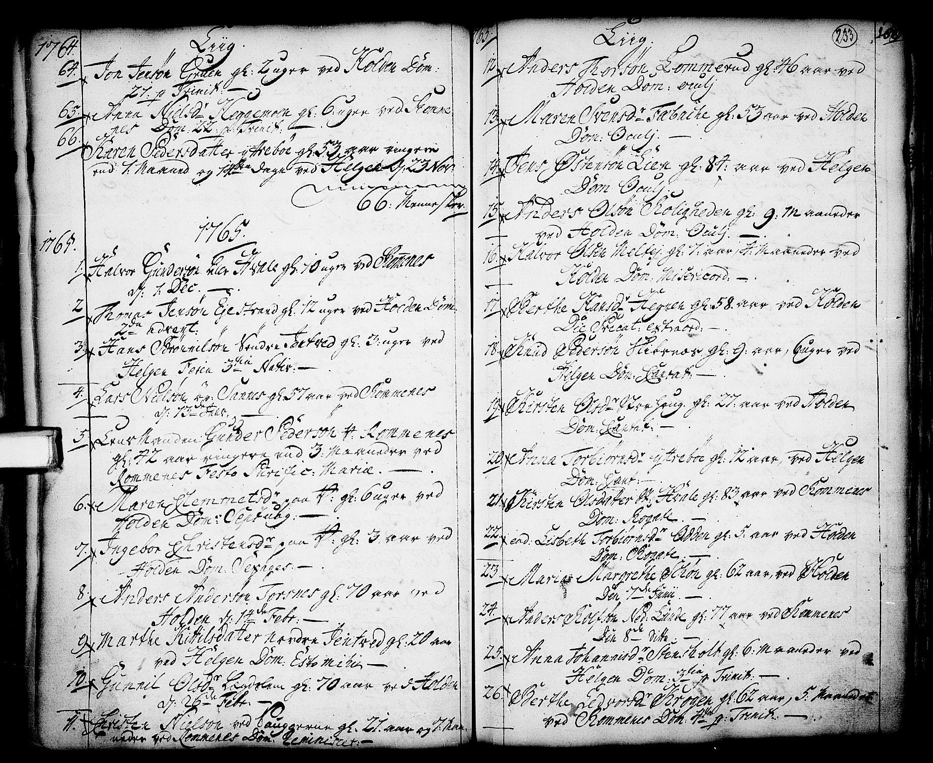 SAKO, Holla kirkebøker, F/Fa/L0001: Ministerialbok nr. 1, 1717-1779, s. 233