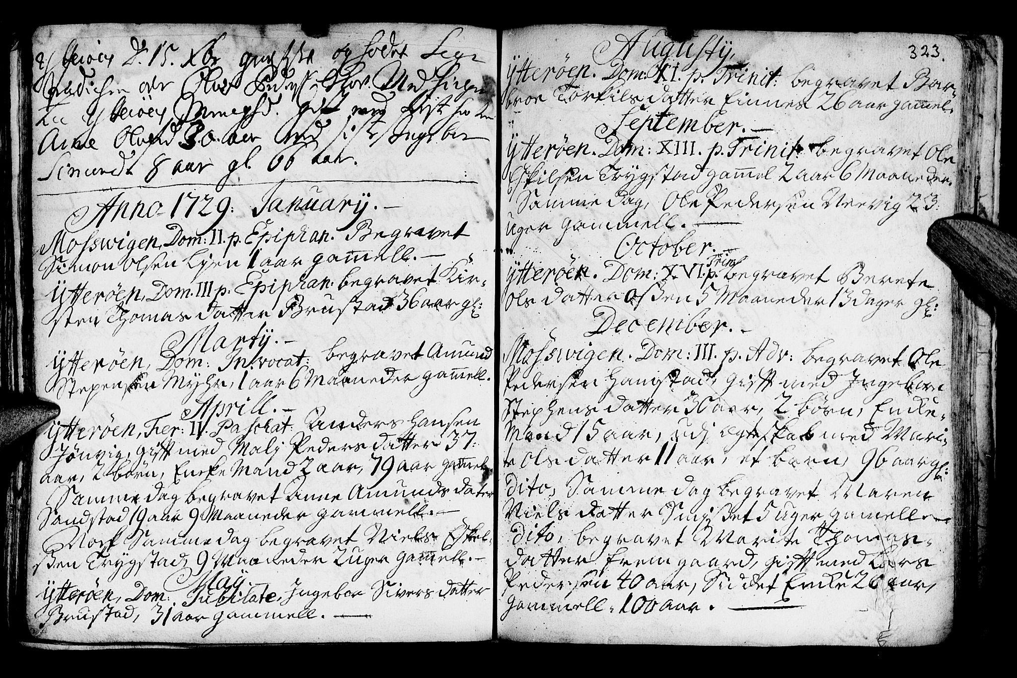 SAT, Ministerialprotokoller, klokkerbøker og fødselsregistre - Nord-Trøndelag, 722/L0215: Ministerialbok nr. 722A02, 1718-1755, s. 323