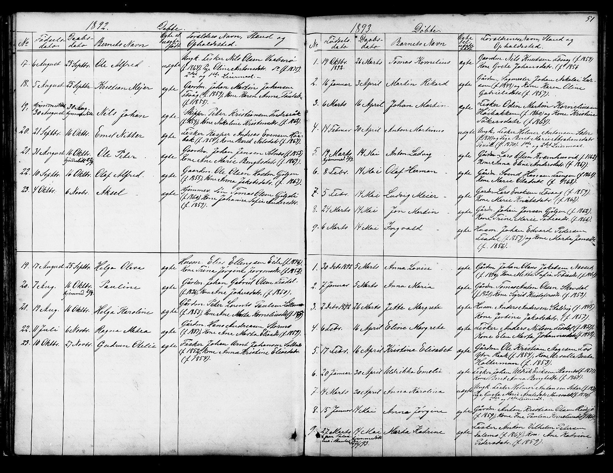 SAT, Ministerialprotokoller, klokkerbøker og fødselsregistre - Sør-Trøndelag, 653/L0657: Klokkerbok nr. 653C01, 1866-1893, s. 51
