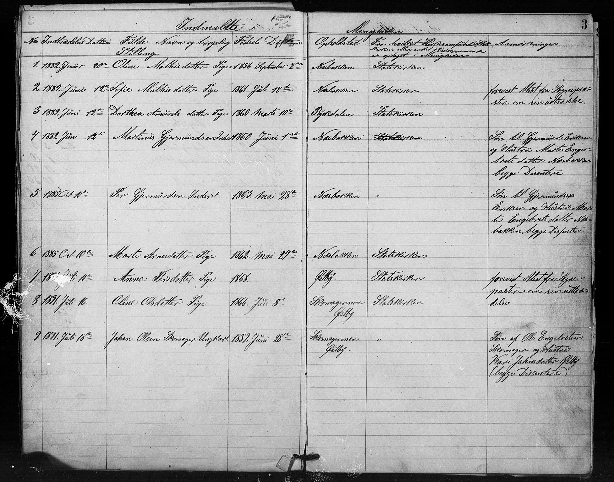 SAH, Misjonsforbundet, 01/L0002: Dissenterprotokoll nr. 2, 1882-1892, s. 3