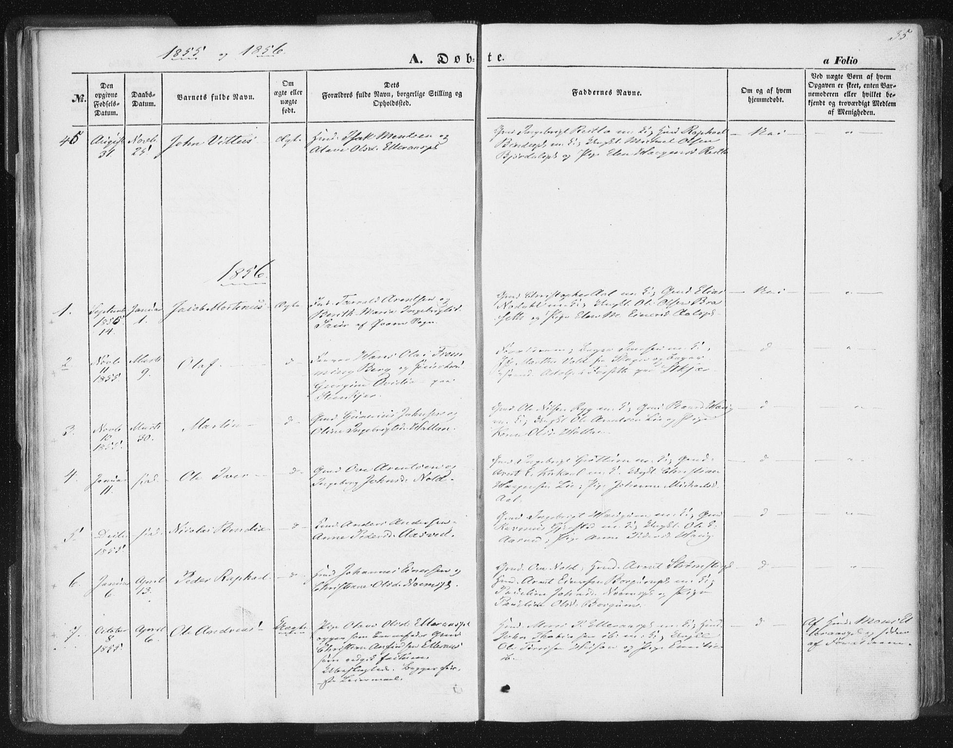 SAT, Ministerialprotokoller, klokkerbøker og fødselsregistre - Nord-Trøndelag, 746/L0446: Ministerialbok nr. 746A05, 1846-1859, s. 35