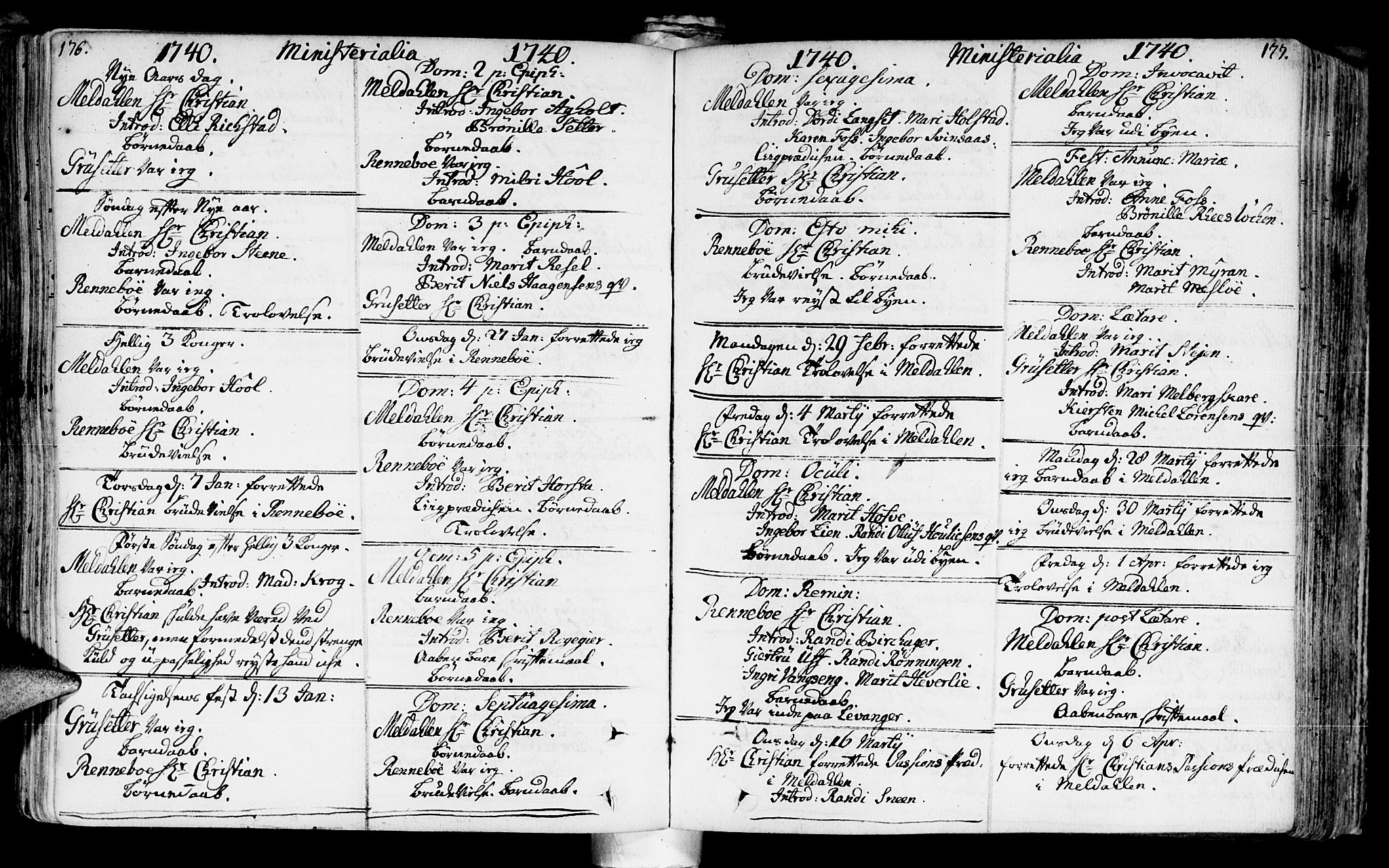SAT, Ministerialprotokoller, klokkerbøker og fødselsregistre - Sør-Trøndelag, 672/L0850: Ministerialbok nr. 672A03, 1725-1751, s. 176-177