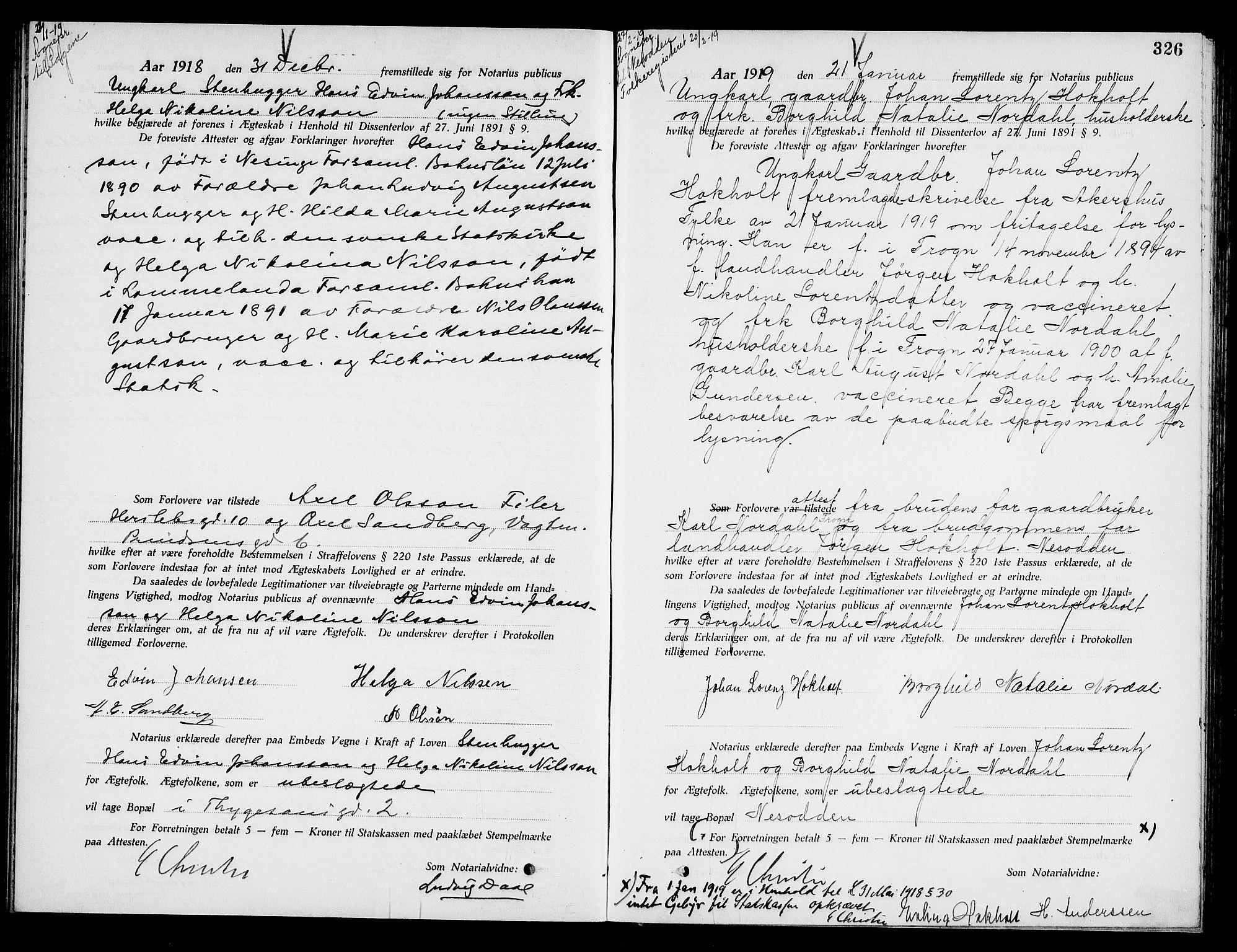SAO, Oslo byfogd avd. I, L/Lb/Lbb/L0012: Notarialprotokoll, rekke II: Vigsler, 1918-1919, s. 325b-326a