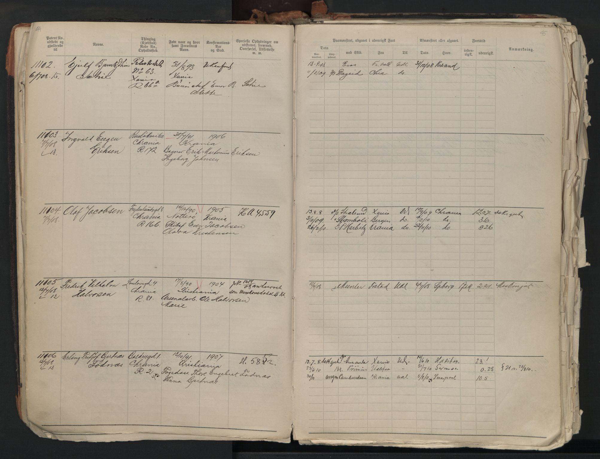 SAO, Oslo sjømannskontor, F/Fb/L0001: Annotasjonsrulle, 1908-1938, s. 44-45