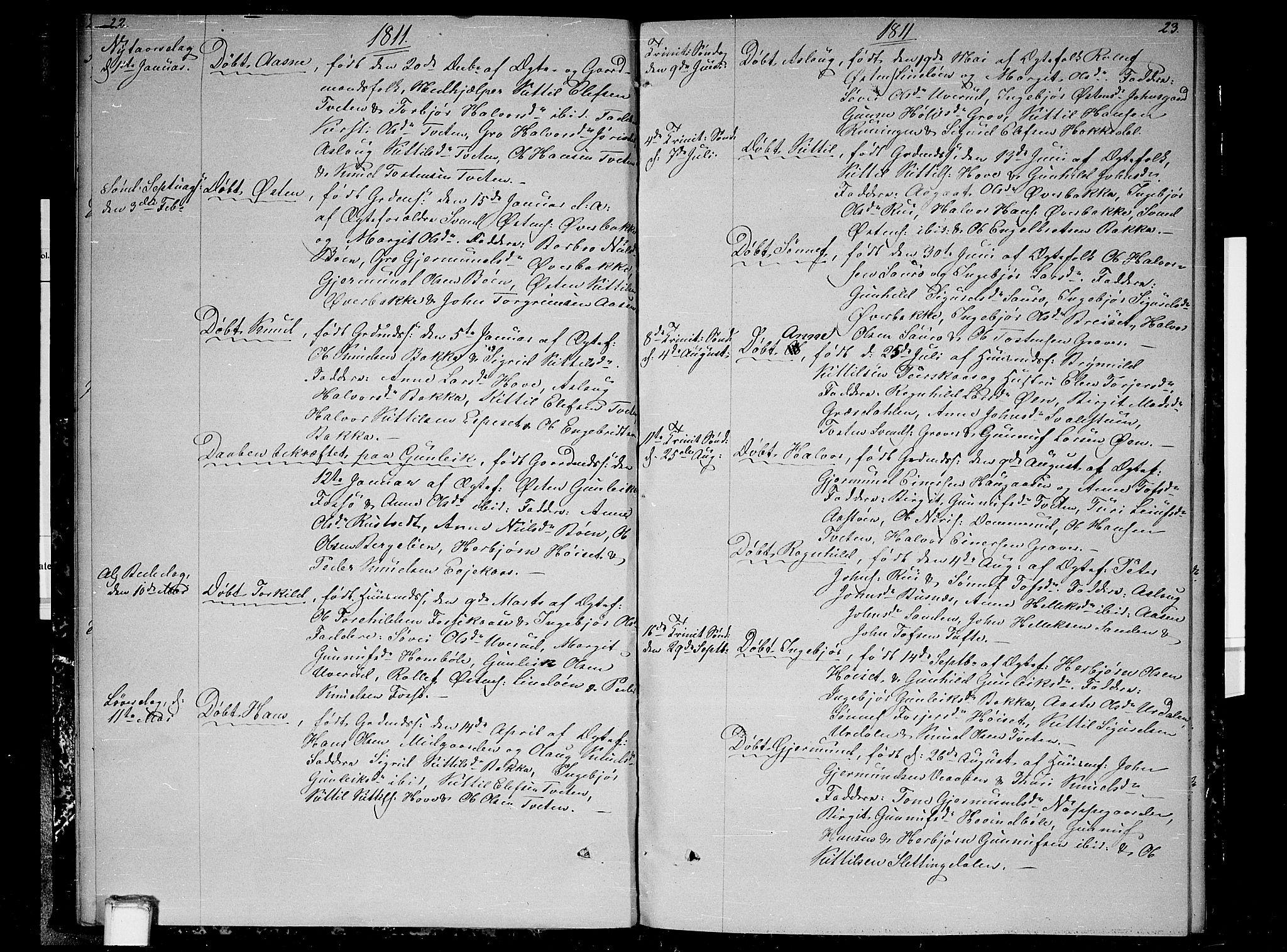 SAKO, Gransherad kirkebøker, F/Fb/L0001: Ministerialbok nr. II 1, 1800-1814, s. 22-23