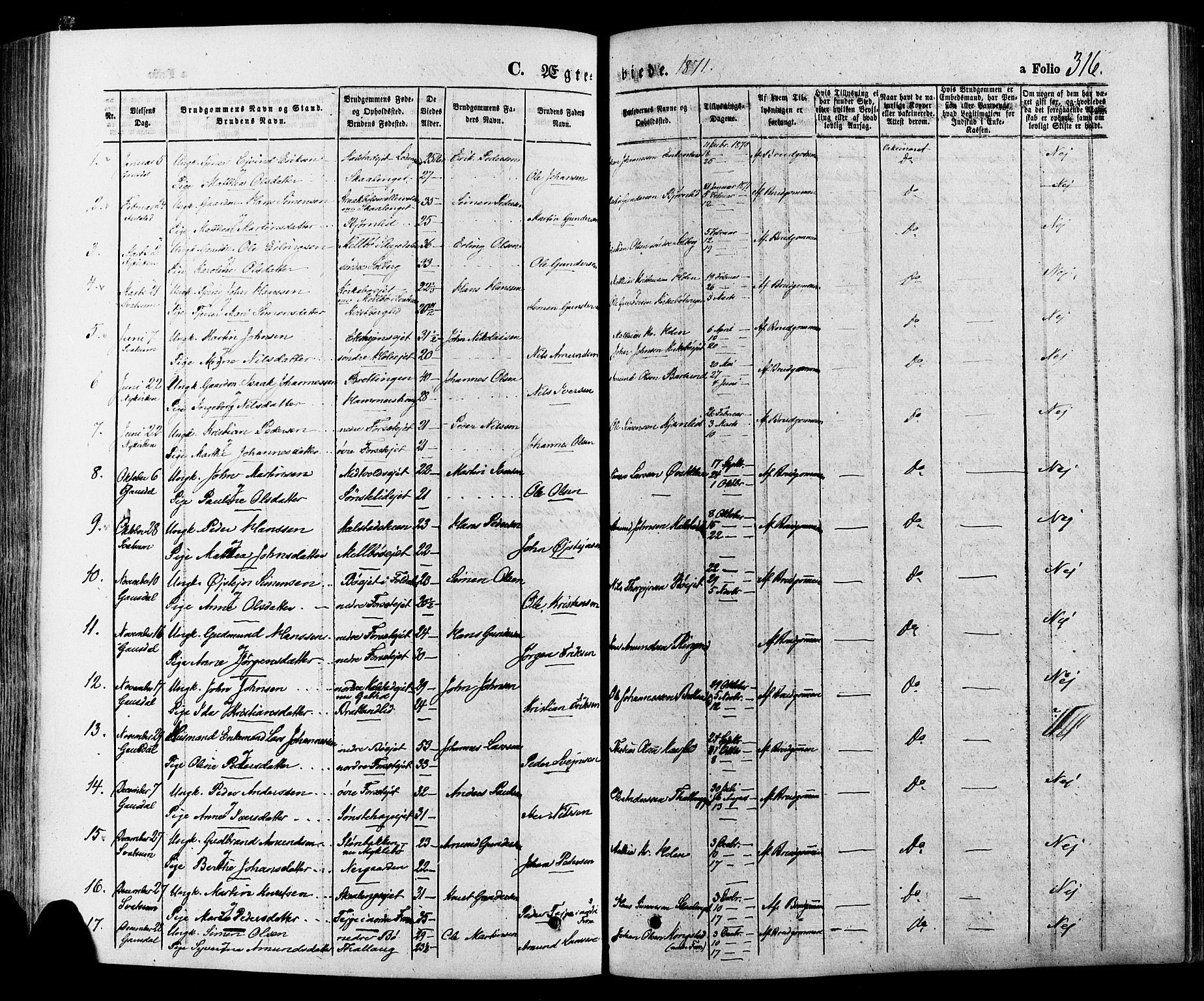 SAH, Gausdal prestekontor, Ministerialbok nr. 10, 1867-1886, s. 316