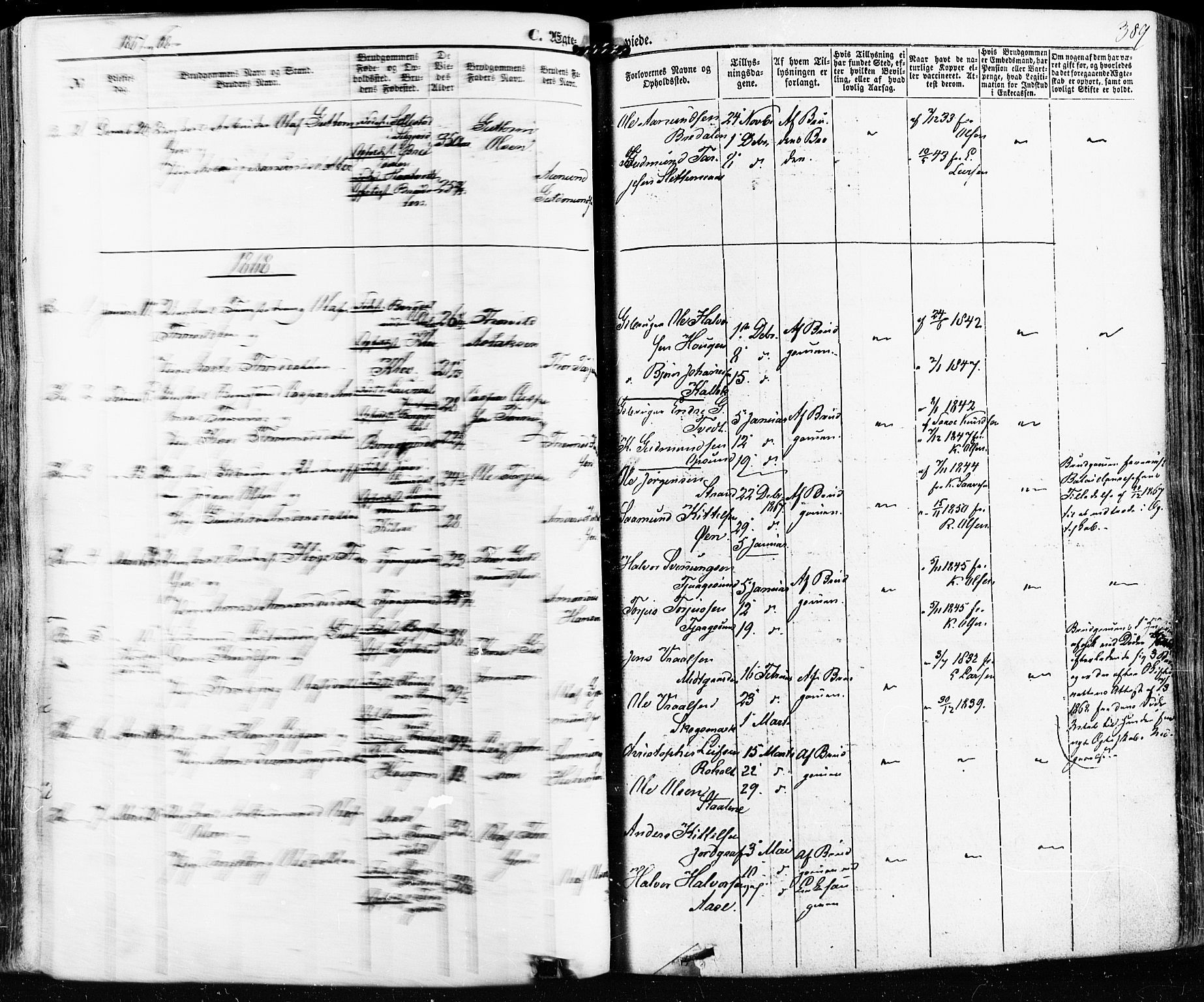 SAKO, Kviteseid kirkebøker, F/Fa/L0007: Ministerialbok nr. I 7, 1859-1881, s. 389