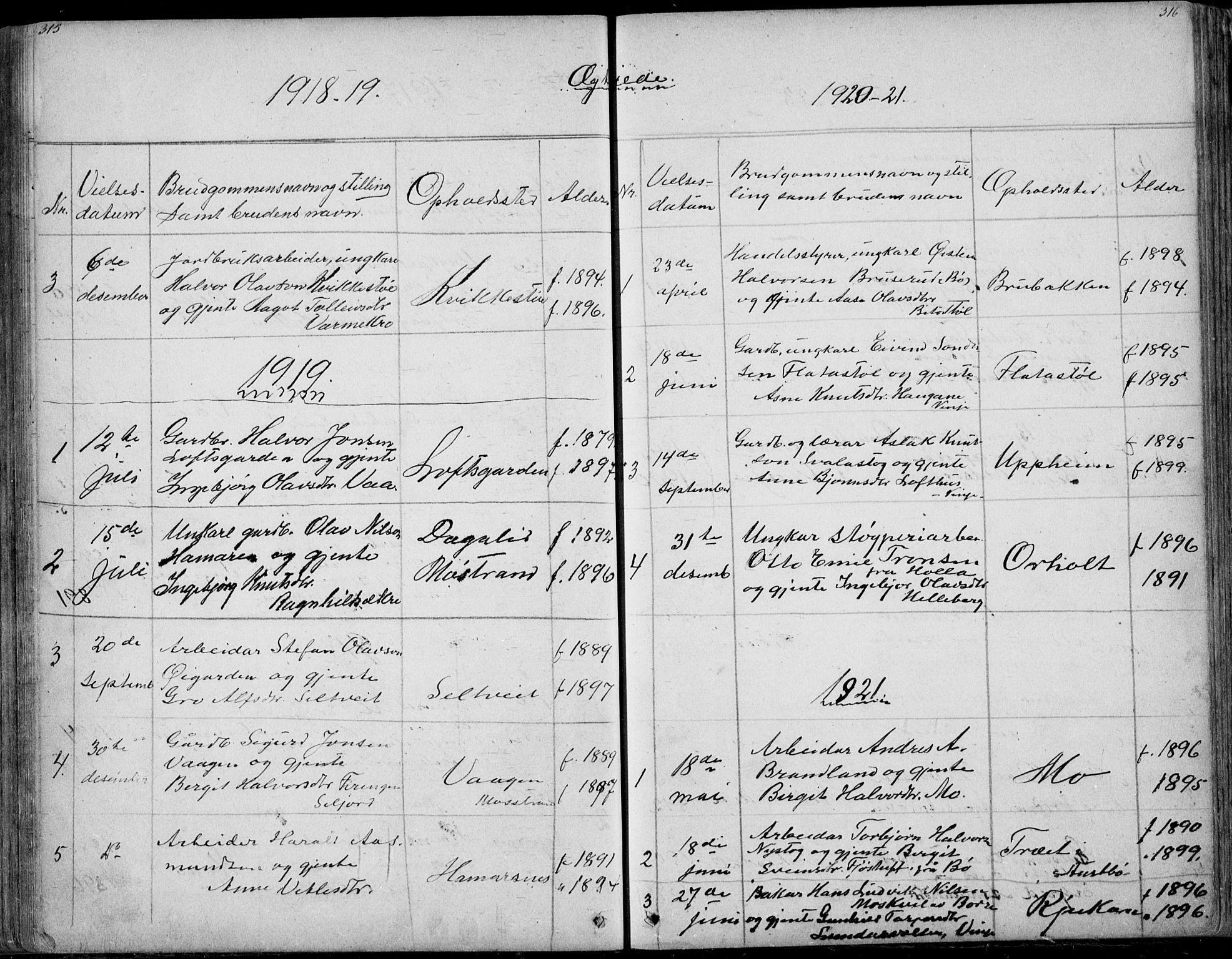 SAKO, Rauland kirkebøker, G/Ga/L0002: Klokkerbok nr. I 2, 1849-1935, s. 315-316