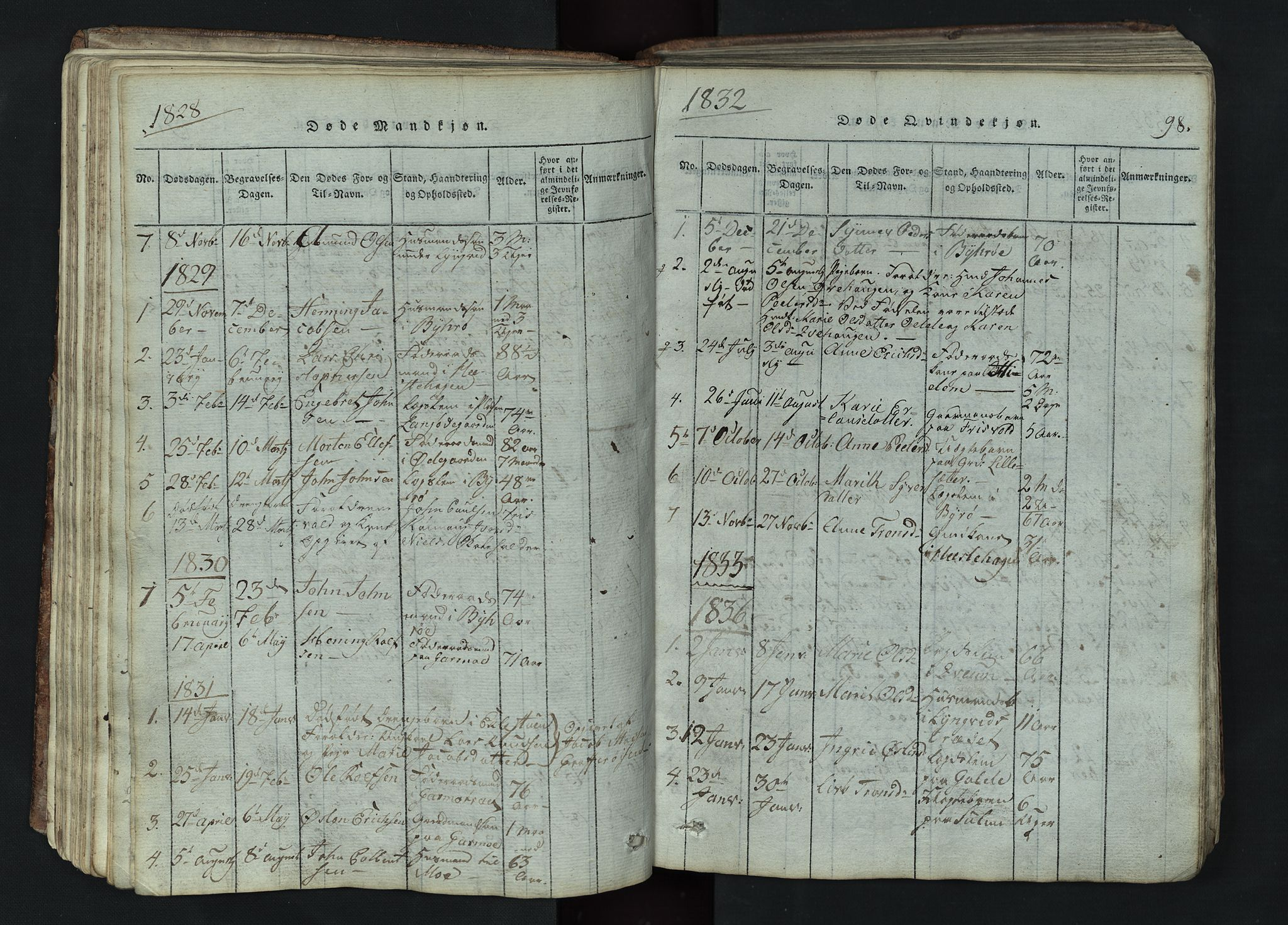 SAH, Lom prestekontor, L/L0002: Klokkerbok nr. 2, 1815-1844, s. 98