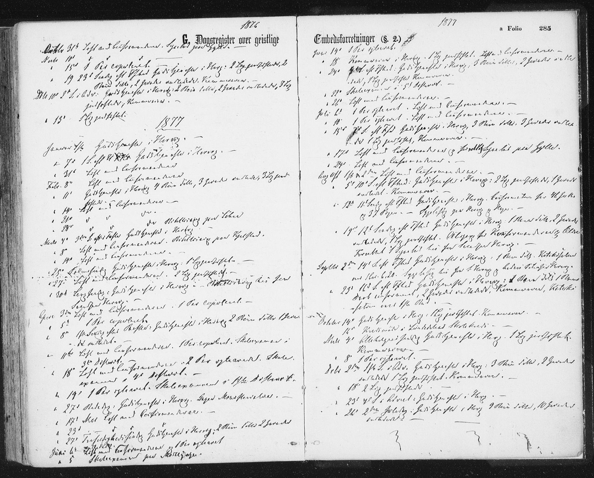 SAT, Ministerialprotokoller, klokkerbøker og fødselsregistre - Sør-Trøndelag, 692/L1104: Ministerialbok nr. 692A04, 1862-1878, s. 285