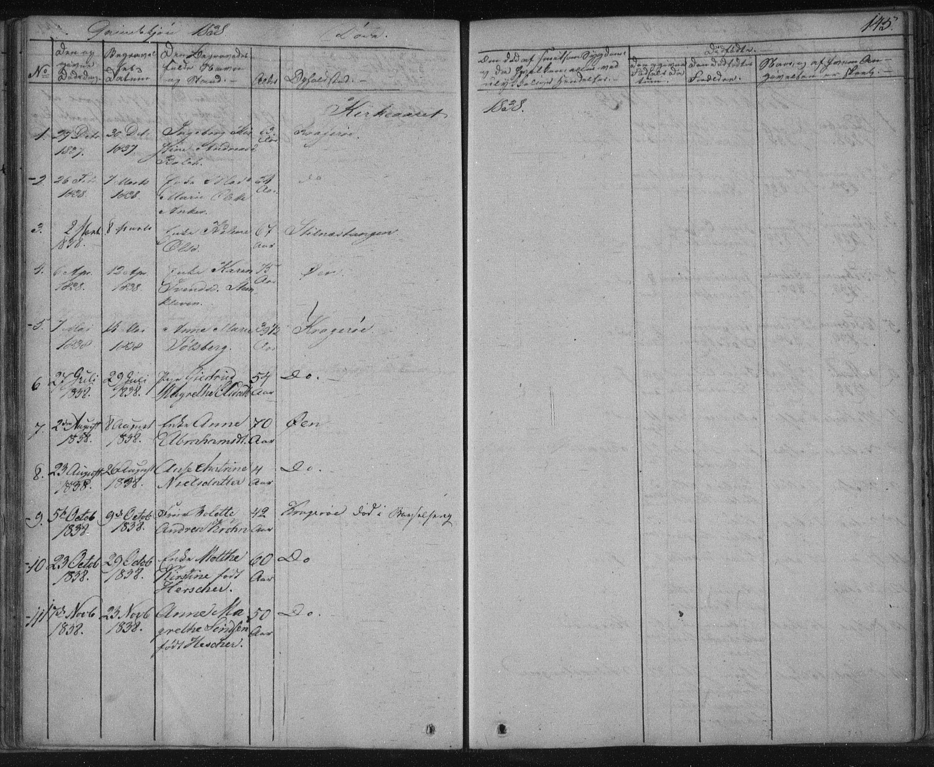 SAKO, Kragerø kirkebøker, F/Fa/L0005: Ministerialbok nr. 5, 1832-1847, s. 145