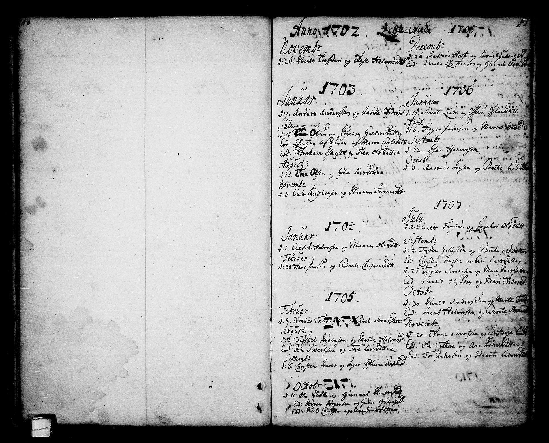 SAKO, Sannidal kirkebøker, F/Fa/L0001: Ministerialbok nr. 1, 1702-1766, s. 50-51