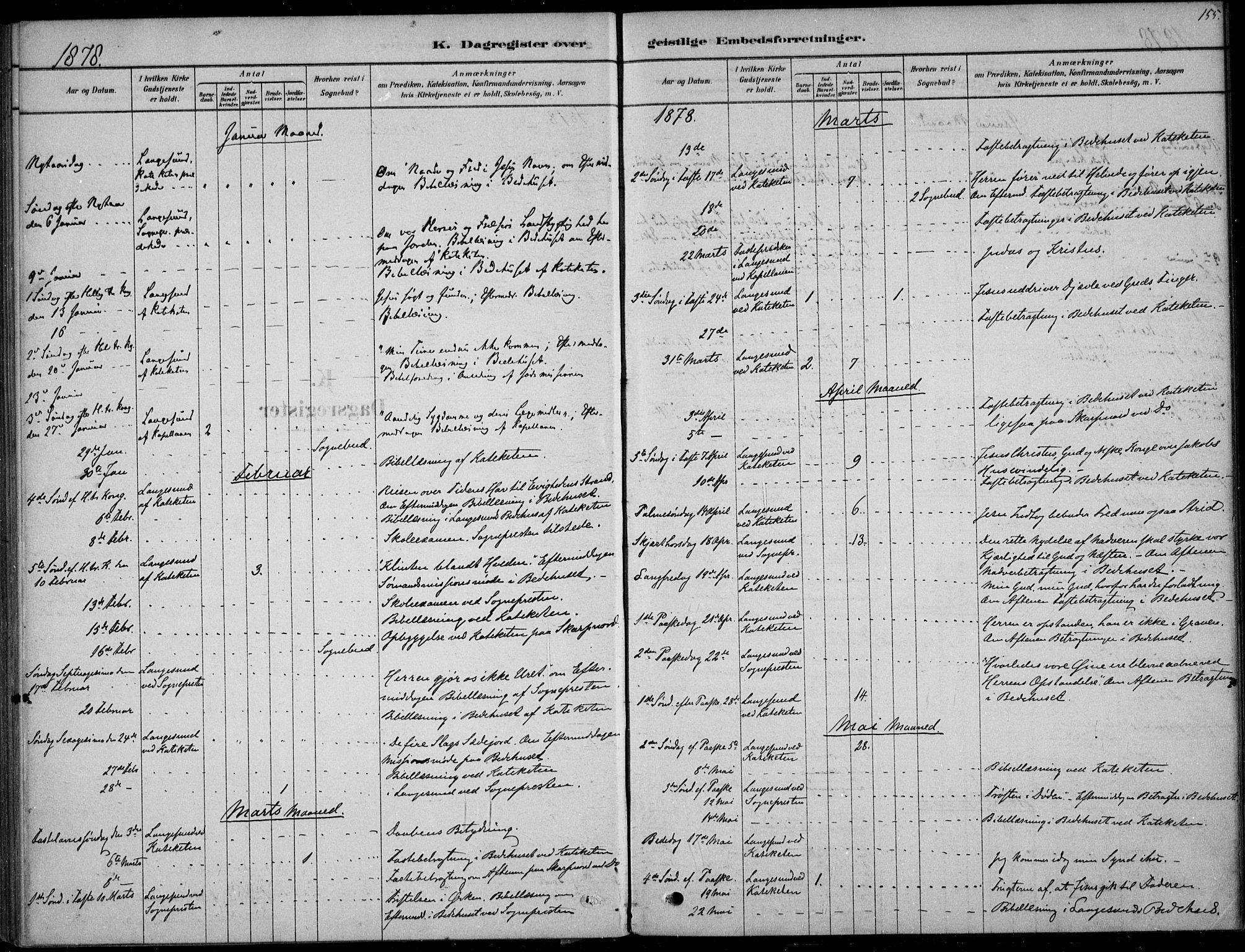 SAKO, Langesund kirkebøker, F/Fa/L0002: Ministerialbok nr. 2, 1878-1892, s. 155