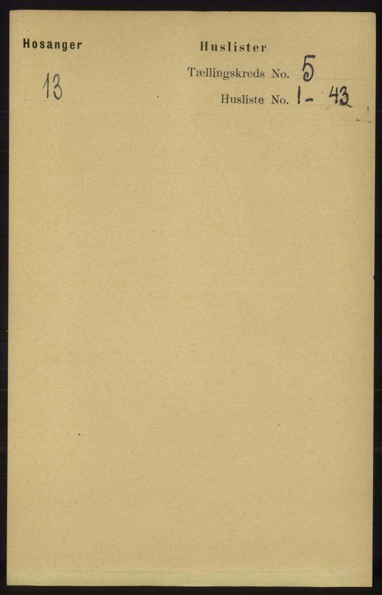 RA, Folketelling 1891 for 1253 Hosanger herred, 1891, s. 1739