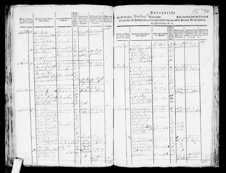 RA, Folketelling 1801 for 1541P Veøy prestegjeld, 1801, s. 390b-391a