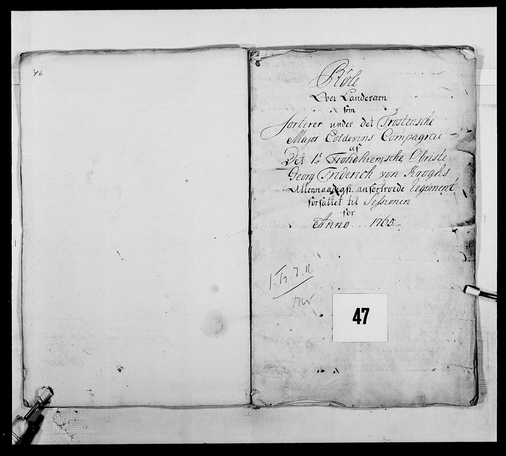 RA, Kommanderende general (KG I) med Det norske krigsdirektorium, E/Ea/L0510: 1. Trondheimske regiment, 1756-1765, s. 573