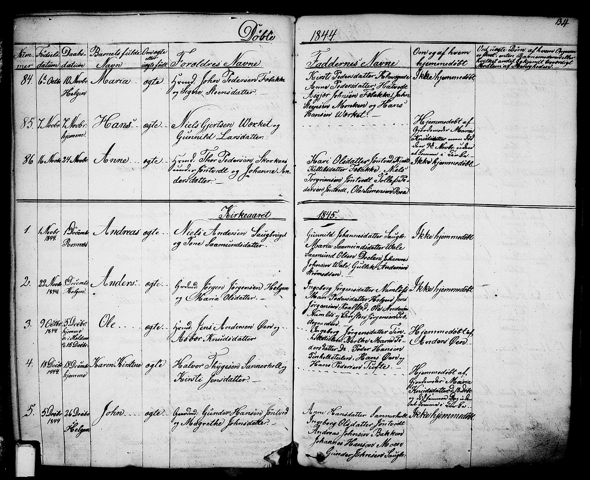 SAKO, Holla kirkebøker, F/Fa/L0004: Ministerialbok nr. 4, 1830-1848, s. 134