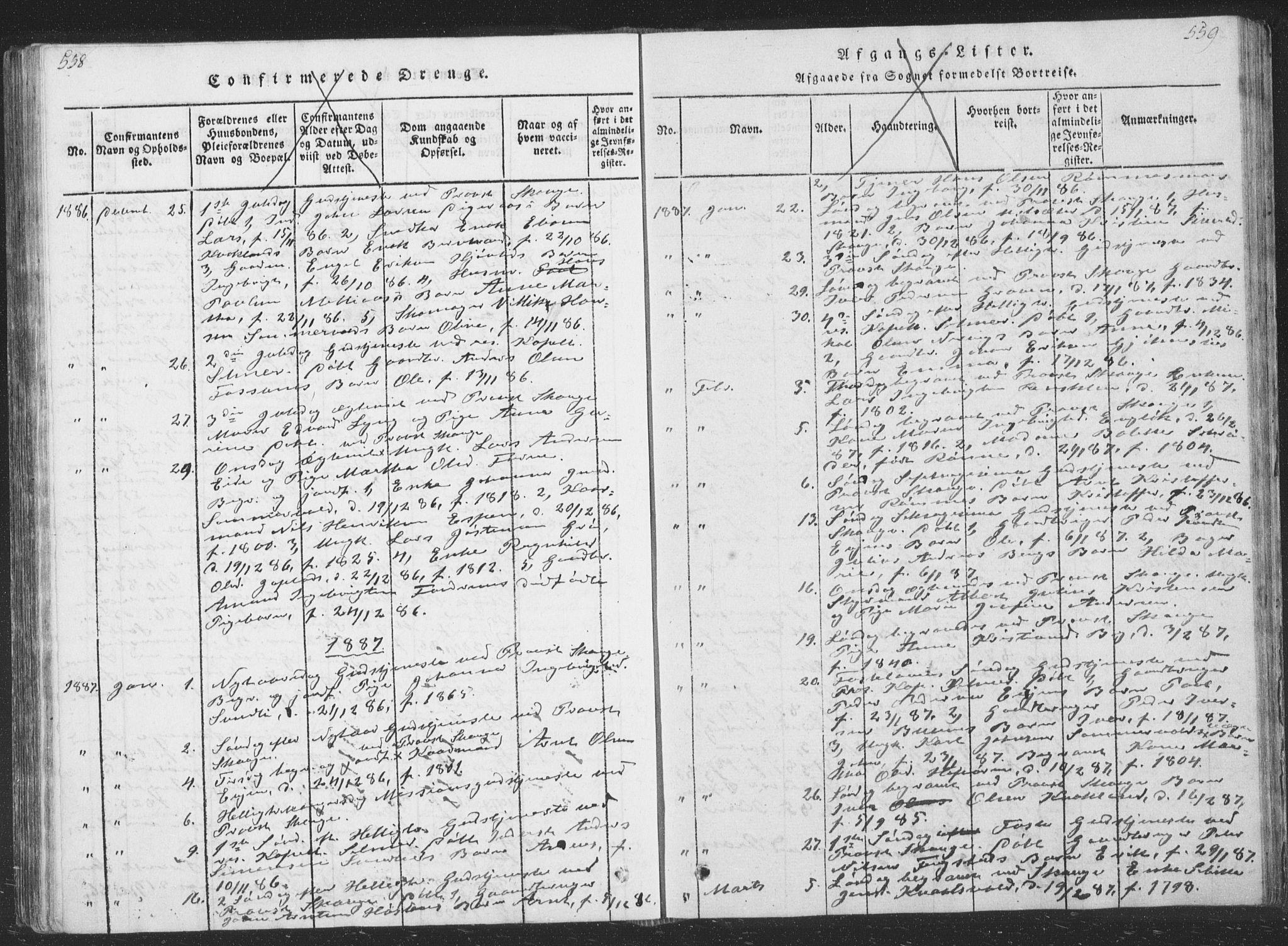 SAT, Ministerialprotokoller, klokkerbøker og fødselsregistre - Sør-Trøndelag, 668/L0816: Klokkerbok nr. 668C05, 1816-1893, s. 558-559