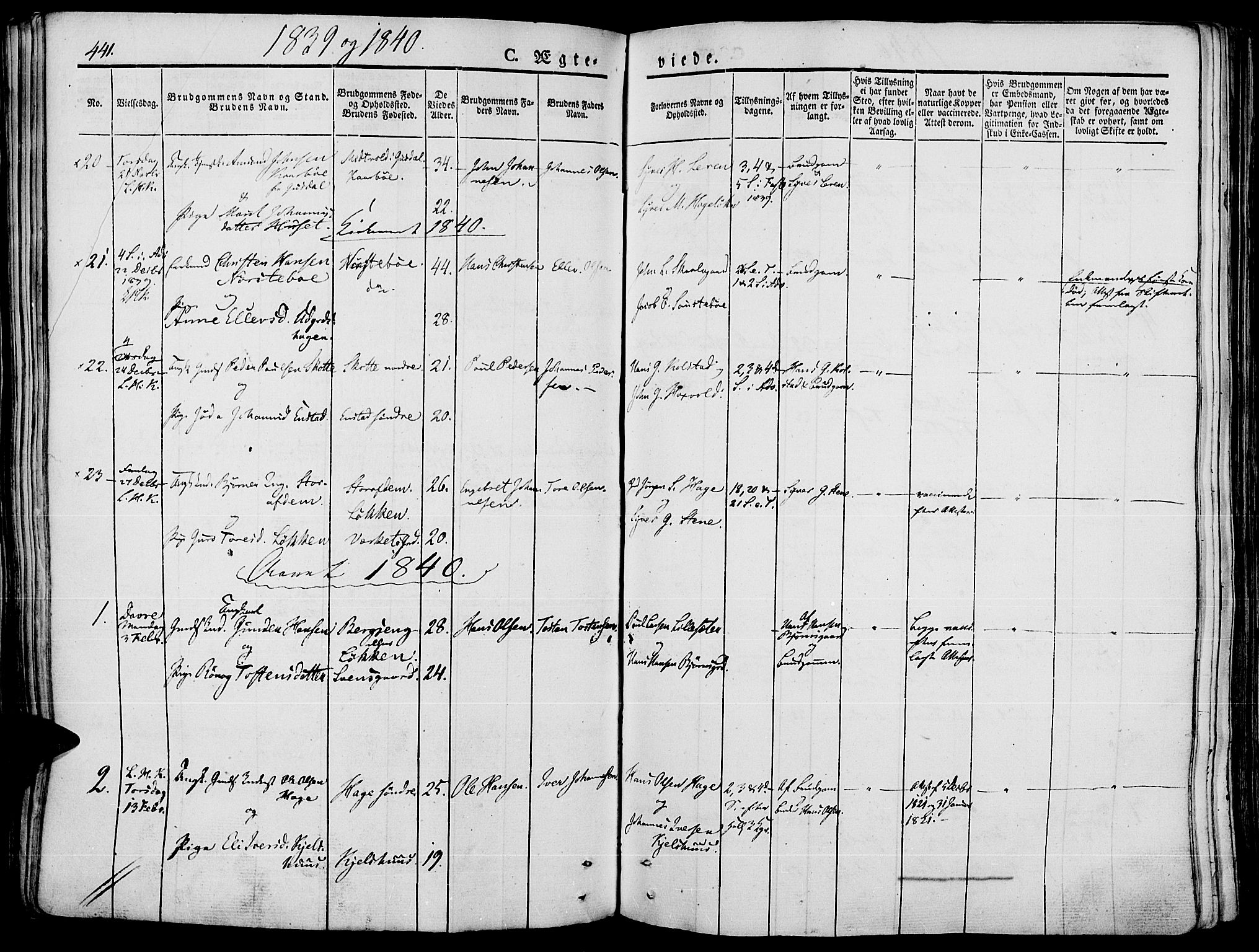 SAH, Lesja prestekontor, Ministerialbok nr. 5, 1830-1842, s. 441