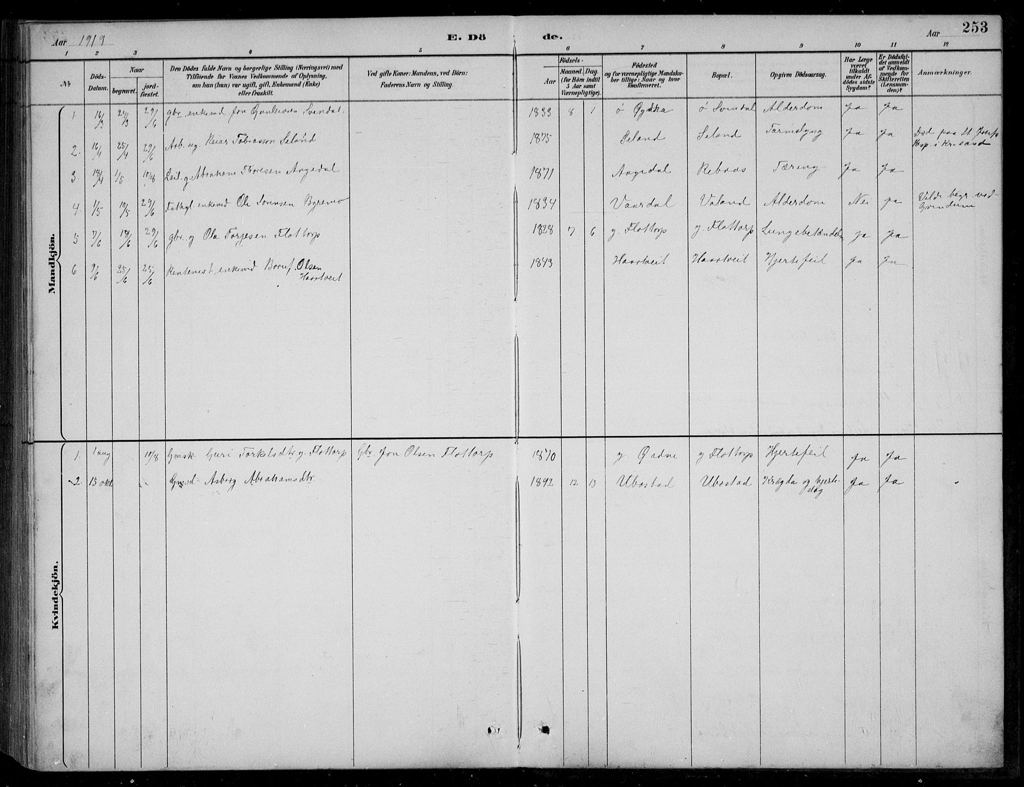 SAK, Bjelland sokneprestkontor, F/Fb/Fbc/L0003: Klokkerbok nr. B 3, 1887-1924, s. 253
