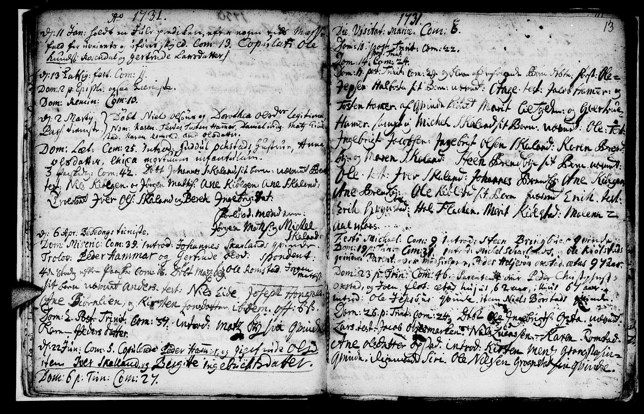 SAT, Ministerialprotokoller, klokkerbøker og fødselsregistre - Nord-Trøndelag, 765/L0560: Ministerialbok nr. 765A01, 1706-1748, s. 13
