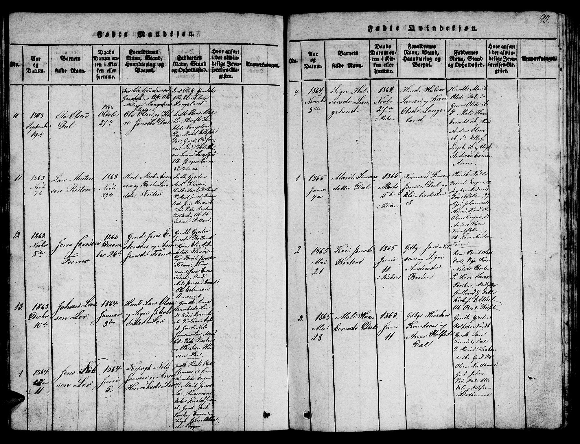 SAT, Ministerialprotokoller, klokkerbøker og fødselsregistre - Sør-Trøndelag, 693/L1121: Klokkerbok nr. 693C02, 1816-1869, s. 90