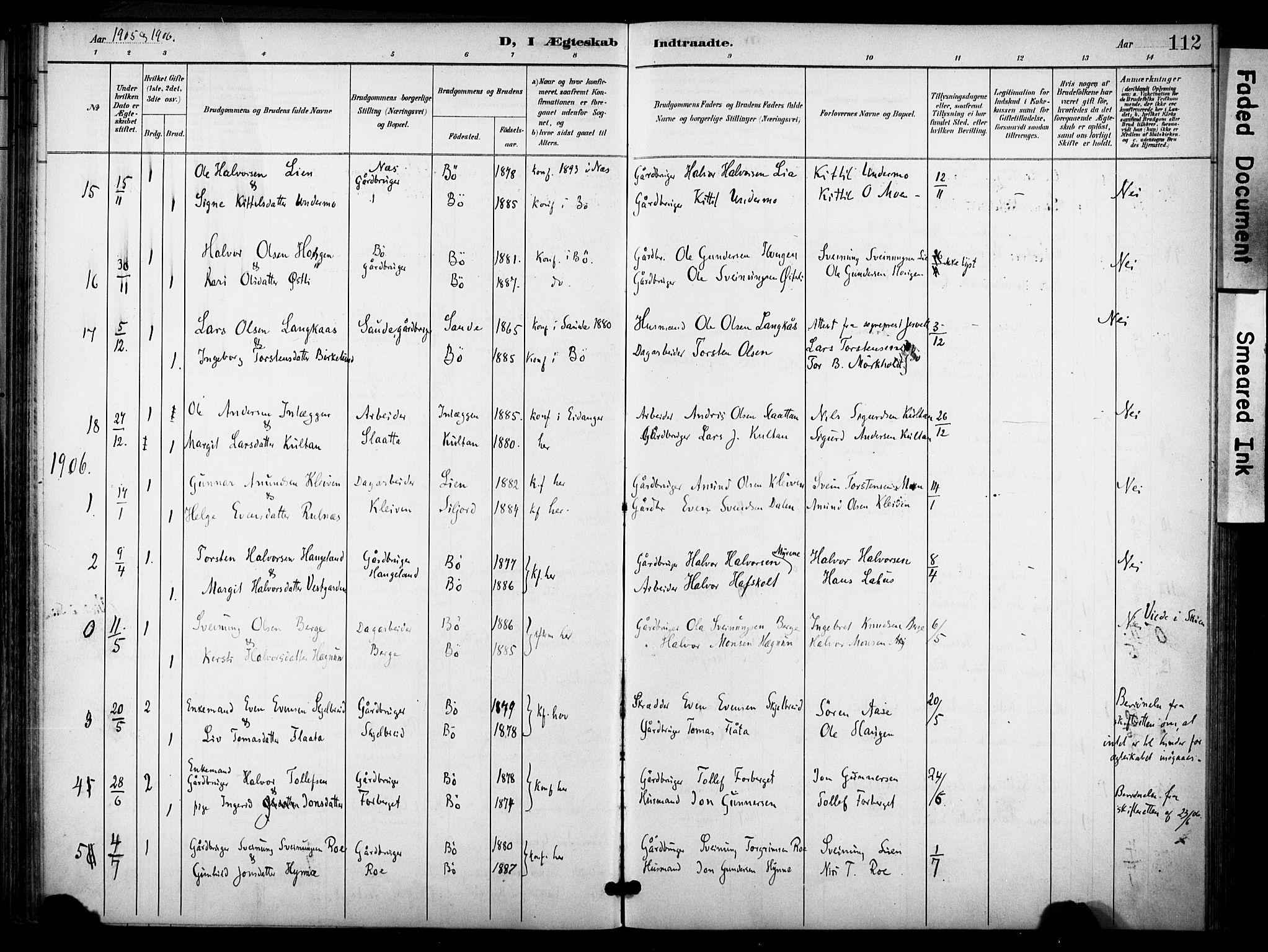 SAKO, Bø kirkebøker, F/Fa/L0012: Ministerialbok nr. 12, 1900-1908, s. 112