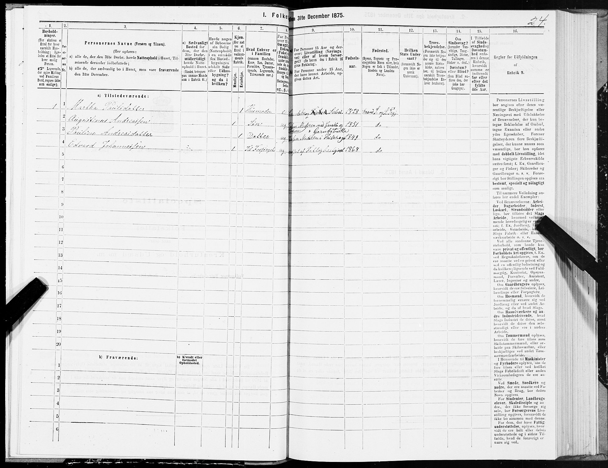 SAT, Folketelling 1875 for 1718P Leksvik prestegjeld, 1875, s. 3024
