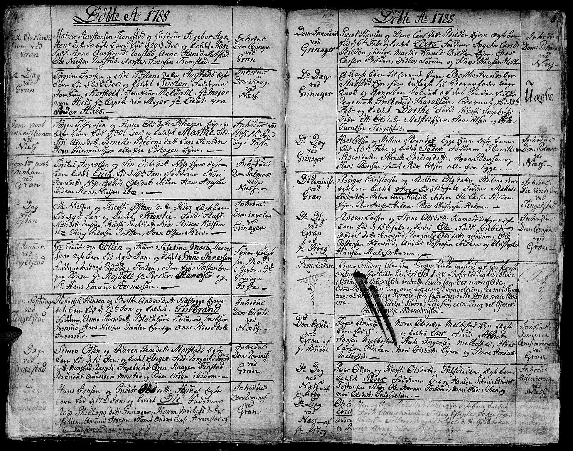 SAH, Gran prestekontor, Ministerialbok nr. 6, 1787-1824, s. 4-5