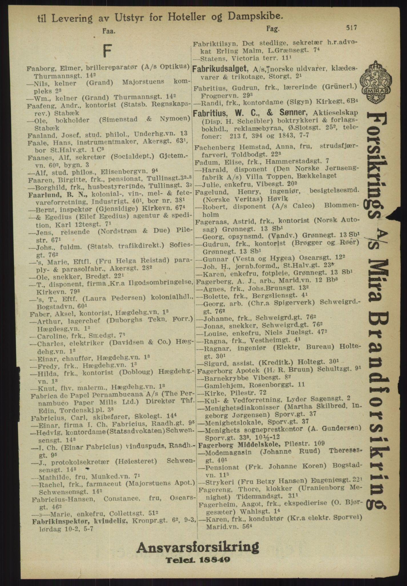 RA, Kristiania adressebok (publikasjon)*, 1918, s. 517