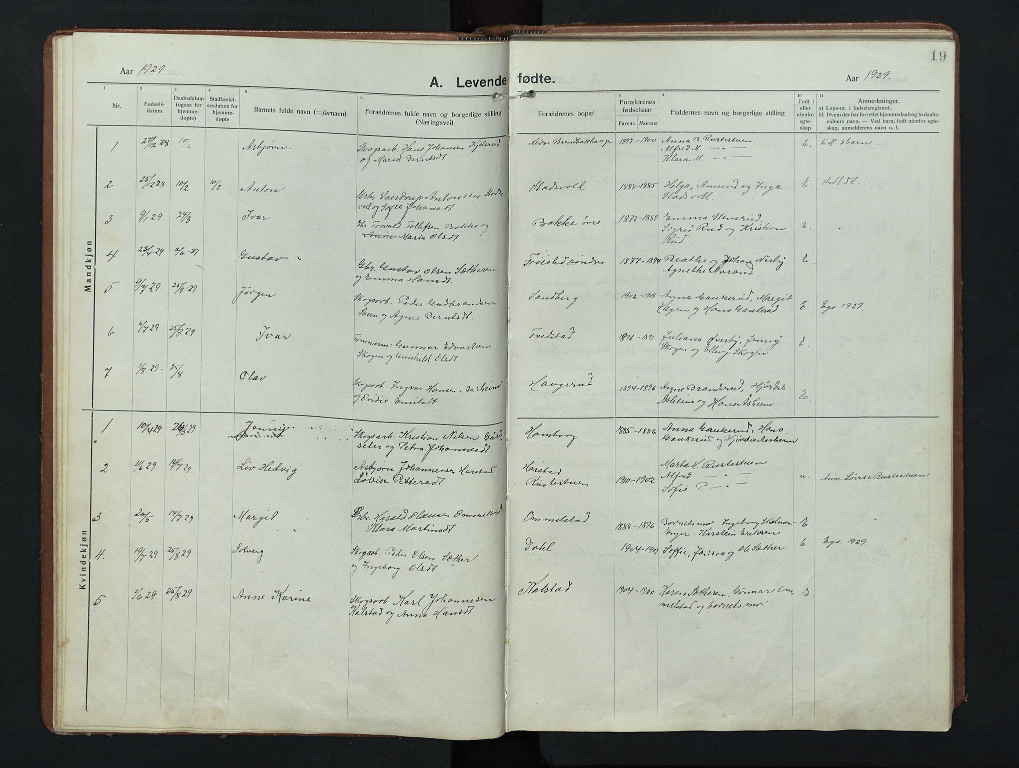 SAH, Nordre Land prestekontor, Klokkerbok nr. 9, 1921-1956, s. 19