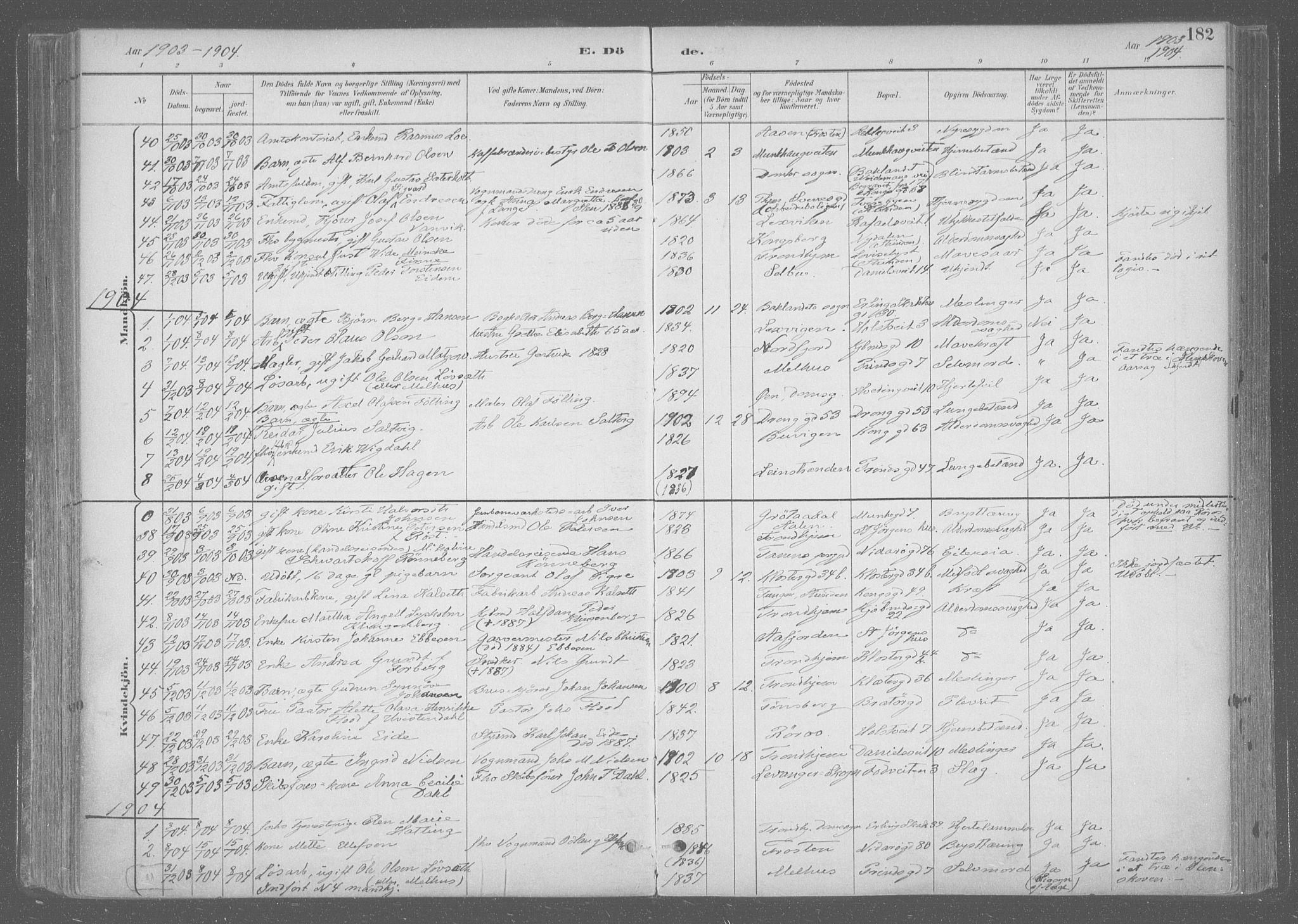 SAT, Ministerialprotokoller, klokkerbøker og fødselsregistre - Sør-Trøndelag, 601/L0064: Ministerialbok nr. 601A31, 1891-1911, s. 182