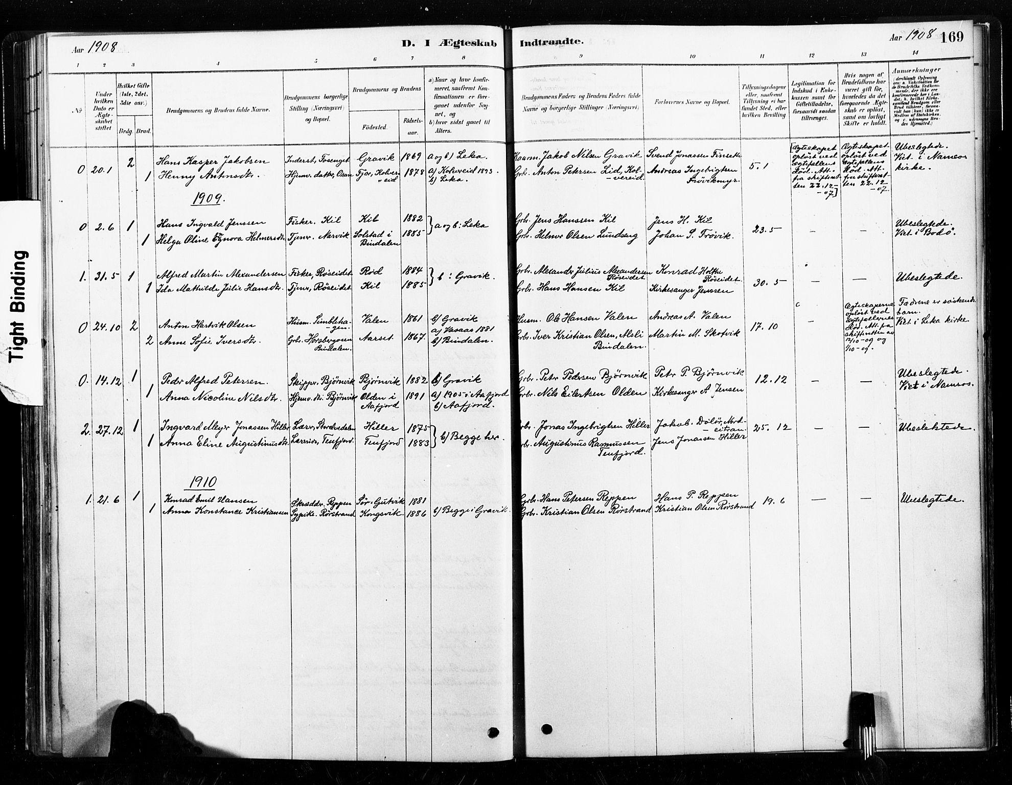 SAT, Ministerialprotokoller, klokkerbøker og fødselsregistre - Nord-Trøndelag, 789/L0705: Ministerialbok nr. 789A01, 1878-1910, s. 169