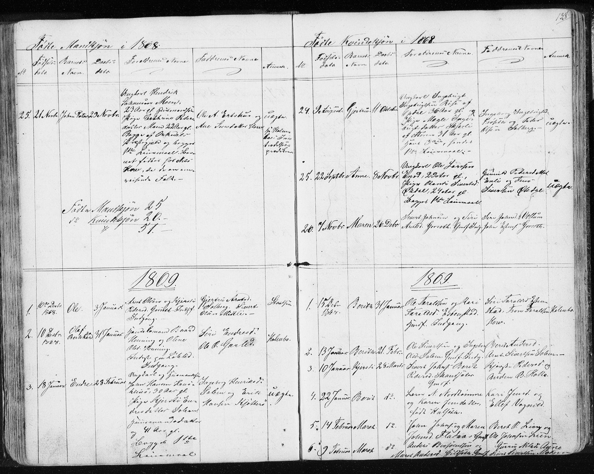 SAT, Ministerialprotokoller, klokkerbøker og fødselsregistre - Sør-Trøndelag, 689/L1043: Klokkerbok nr. 689C02, 1816-1892, s. 138