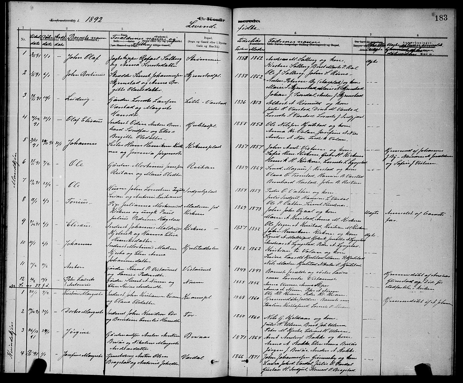 SAT, Ministerialprotokoller, klokkerbøker og fødselsregistre - Nord-Trøndelag, 730/L0301: Klokkerbok nr. 730C04, 1880-1897, s. 183