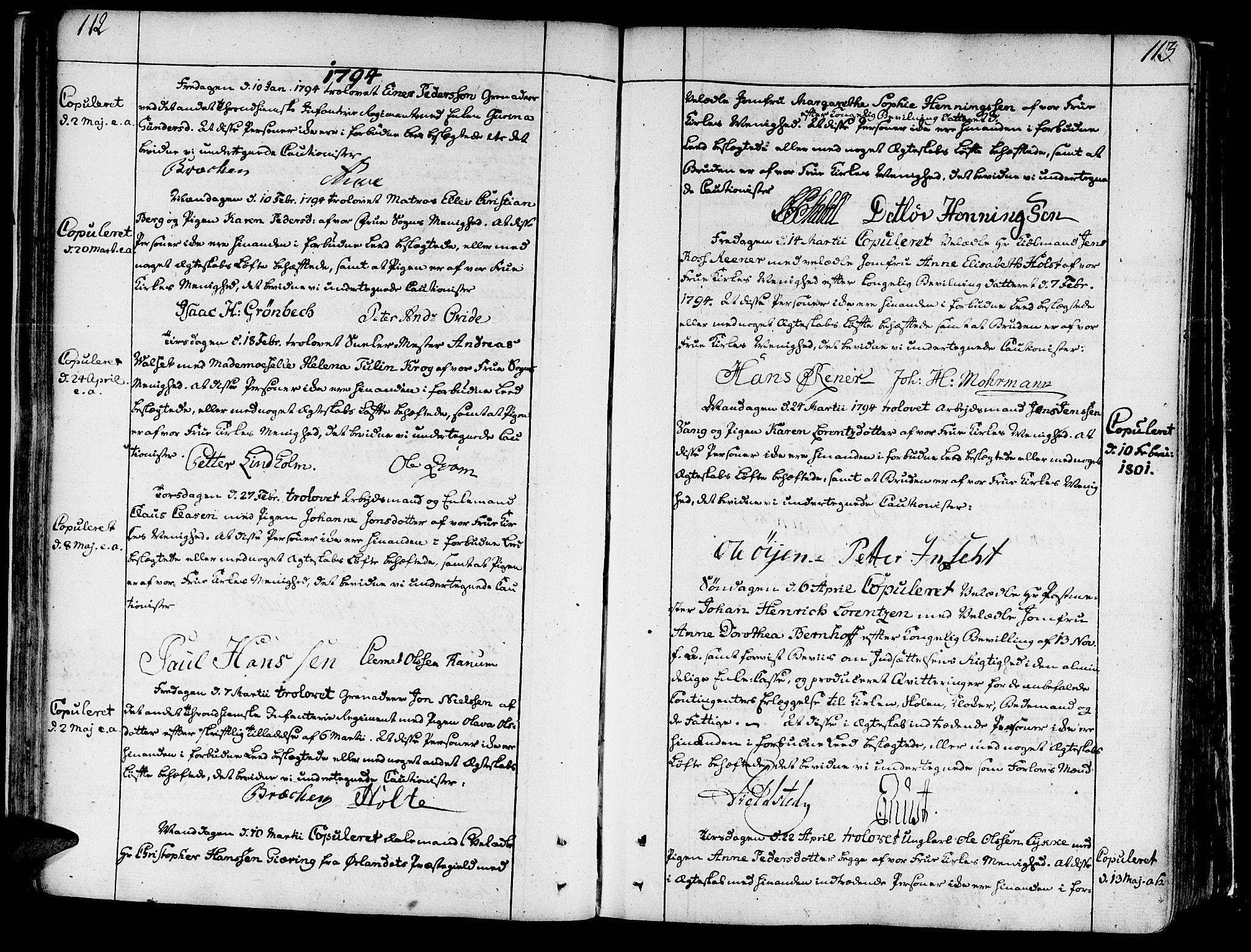 SAT, Ministerialprotokoller, klokkerbøker og fødselsregistre - Sør-Trøndelag, 602/L0105: Ministerialbok nr. 602A03, 1774-1814, s. 112-113