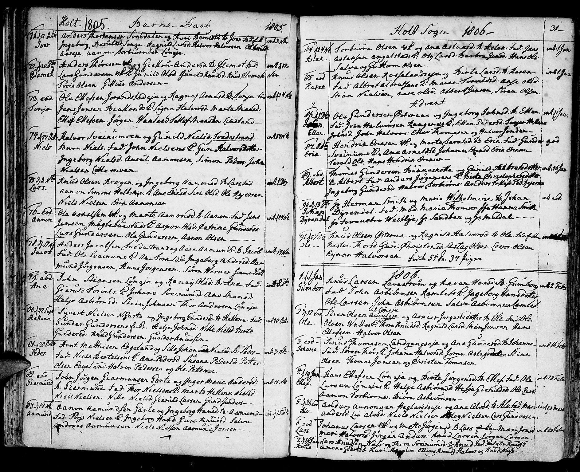 SAK, Holt sokneprestkontor, F/Fa/L0004: Ministerialbok nr. A 4, 1799-1813, s. 31